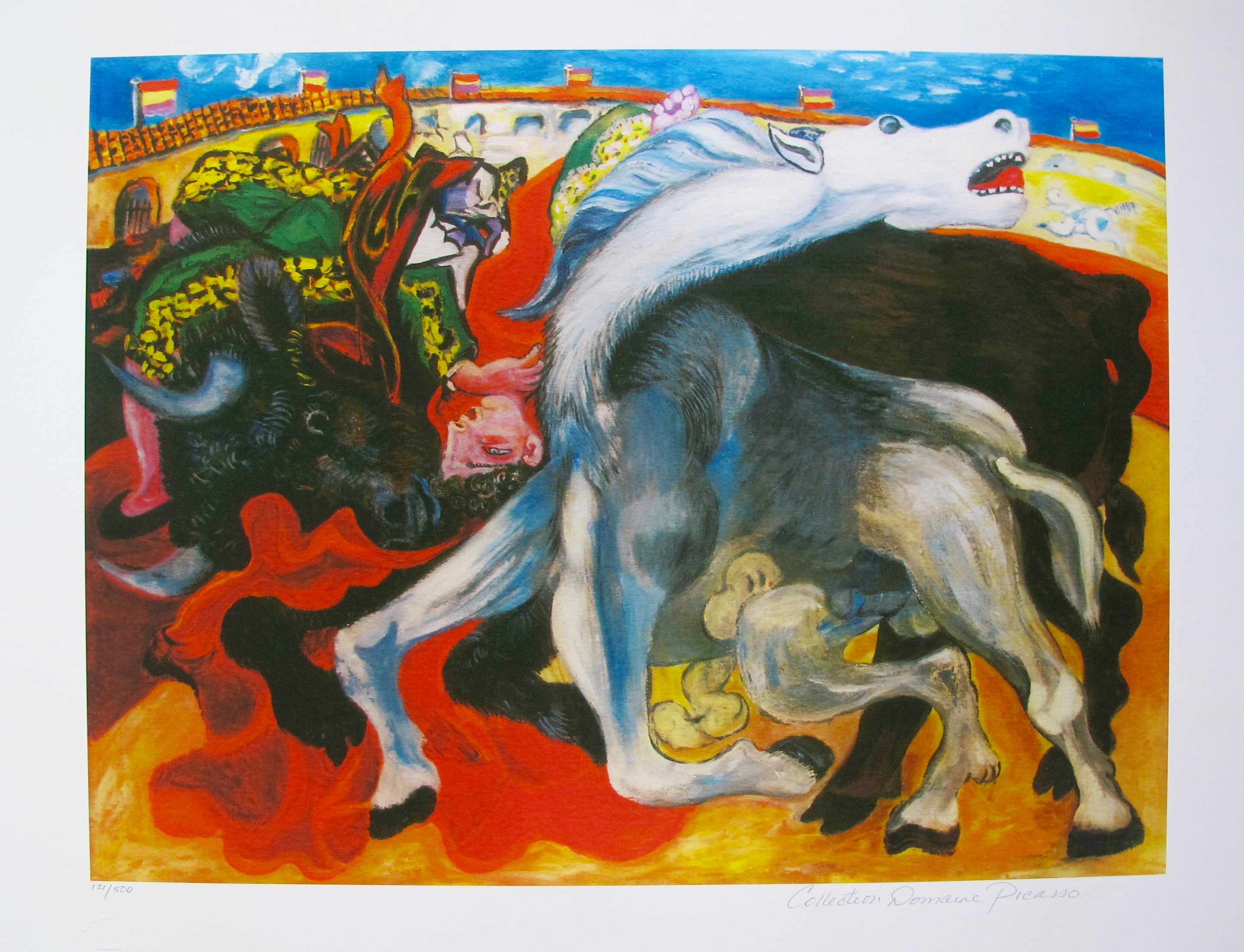 #34 BULL FIGHT, DEATH OF TOREADOR Pablo Picasso Estate Signed Giclee