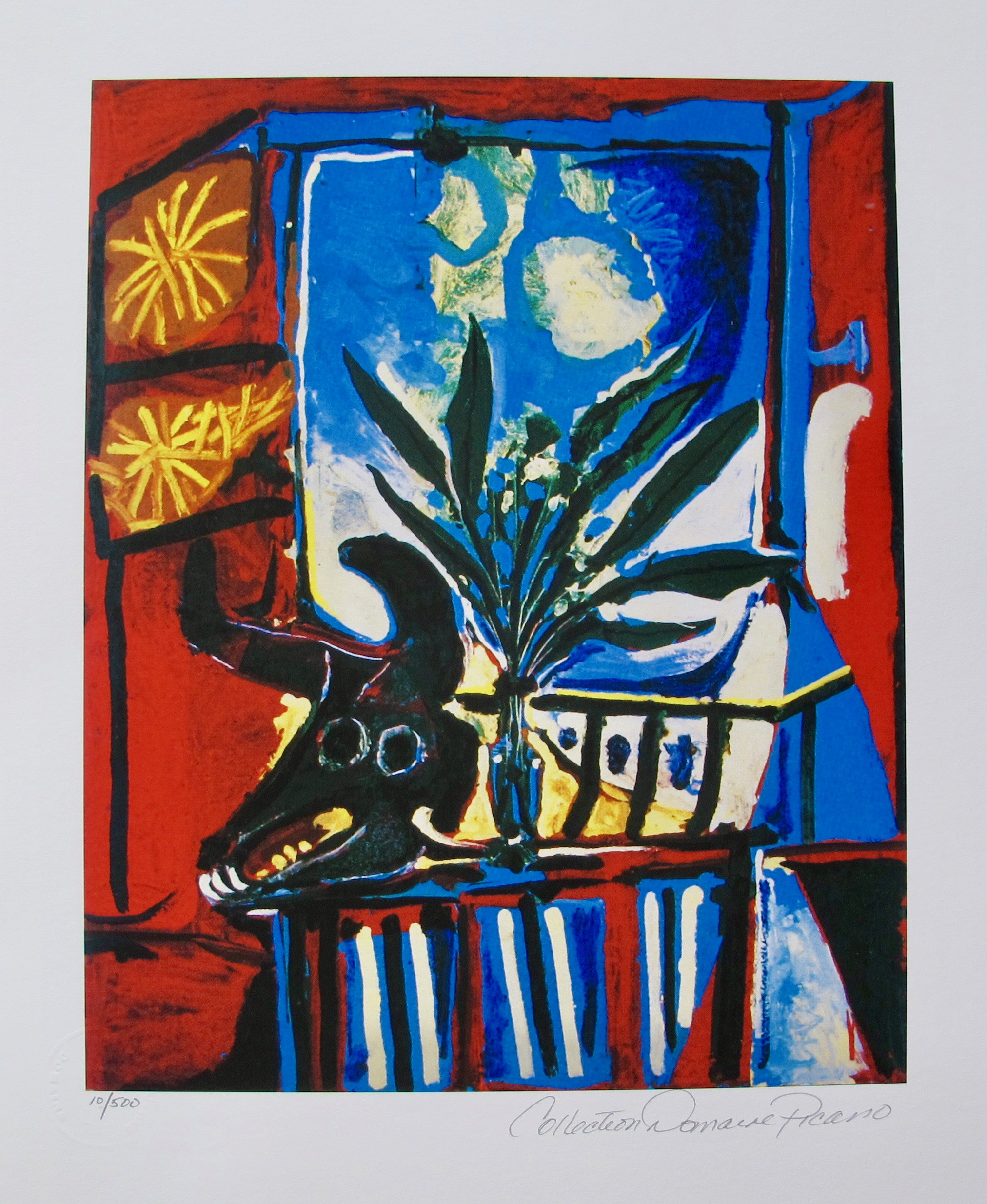 #084 BULLHEAD WITH PLANT Pablo Picasso Estate Signed Giclee