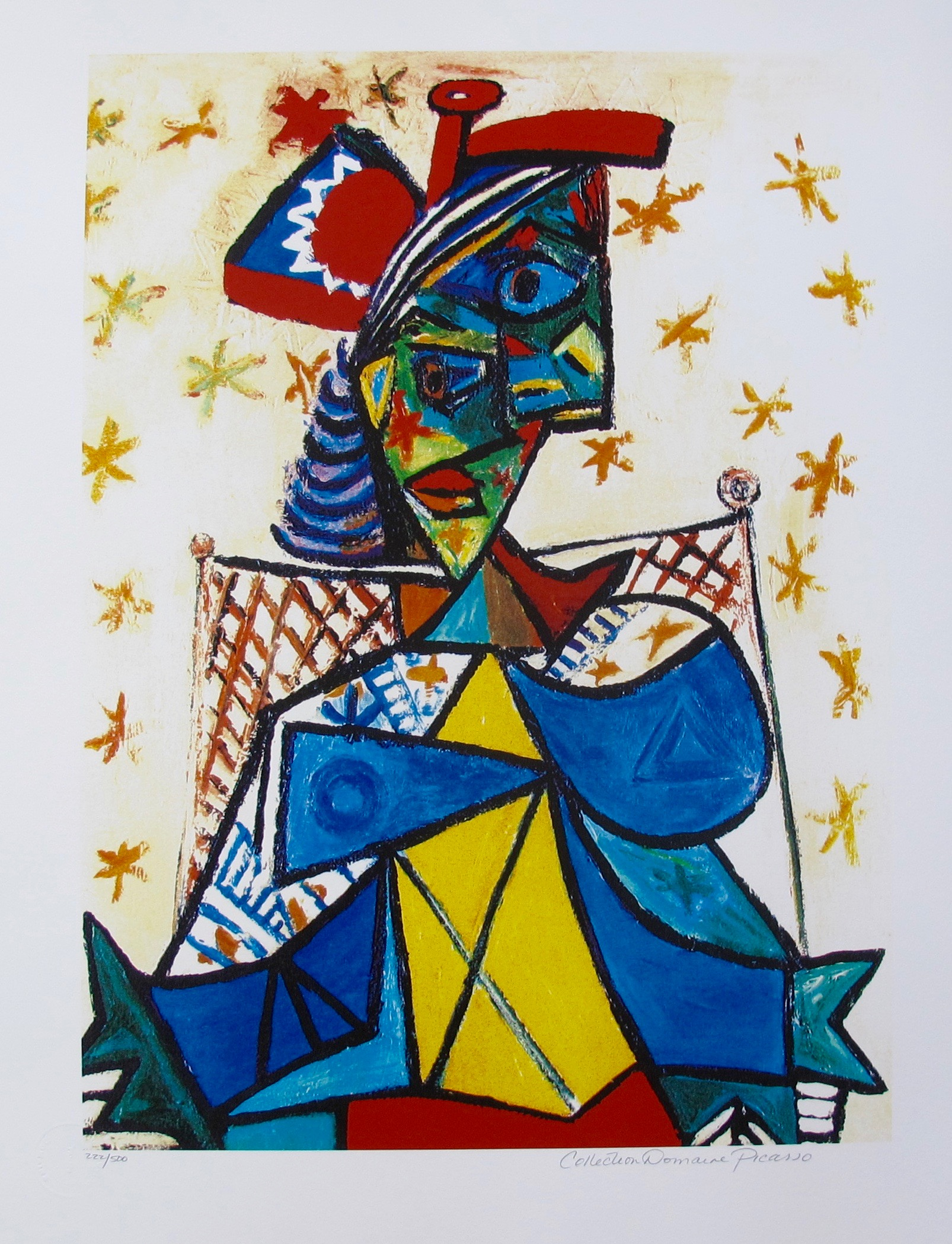 #35 SEATED WOMAN WITH RED AND BLUE HAT Pablo Picasso Estate Signed Giclee