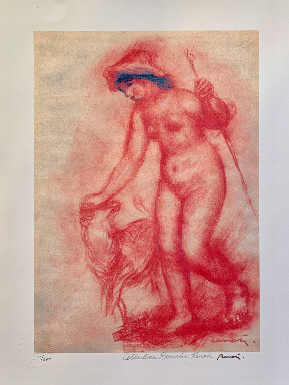 Pierre Auguste Renoir BATHER & DOG Estate Signed Small Giclee
