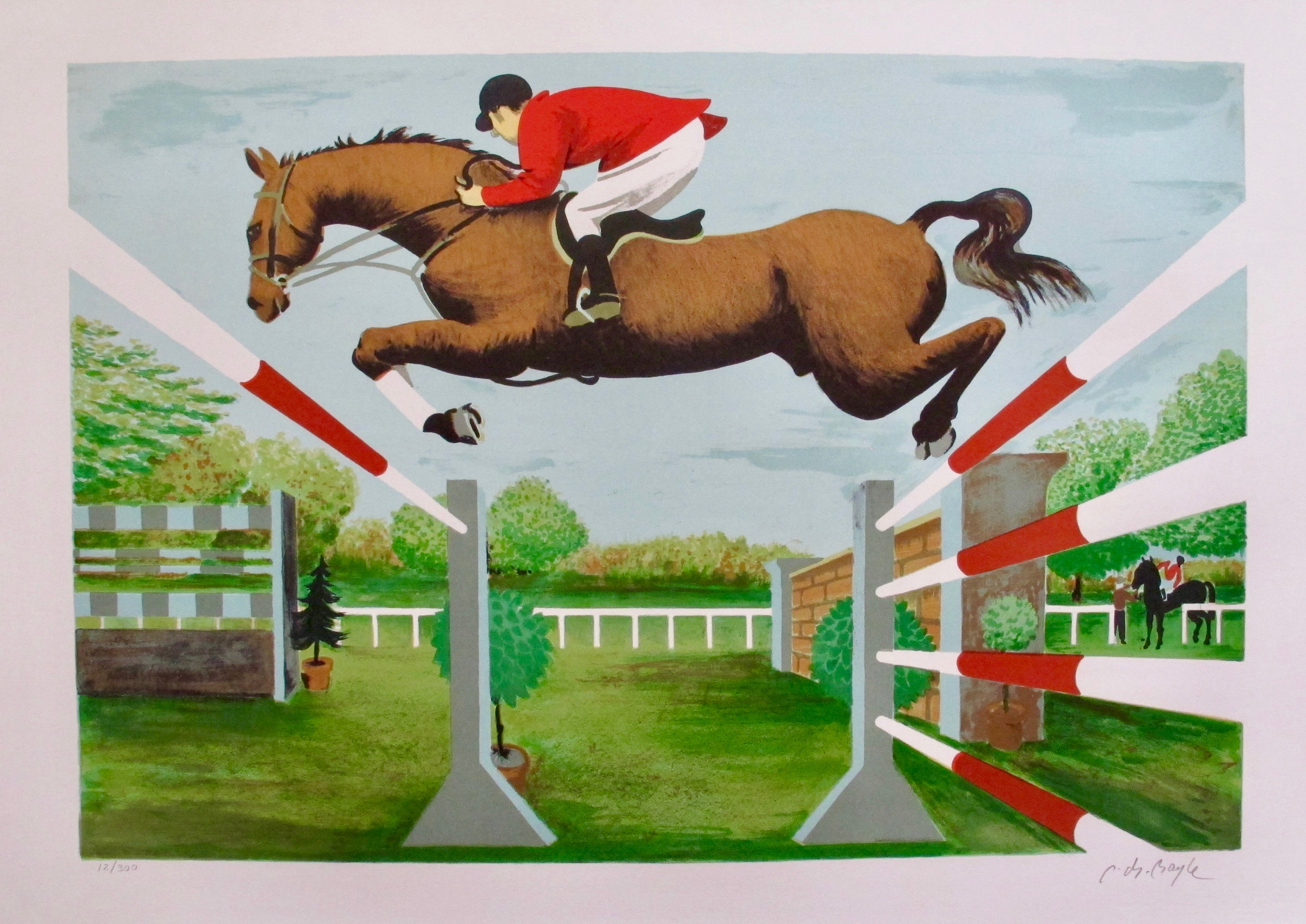 PIERRE CHARLES BAYLE Obstacle Course Hand Signed Lithograph Horse Racing Art