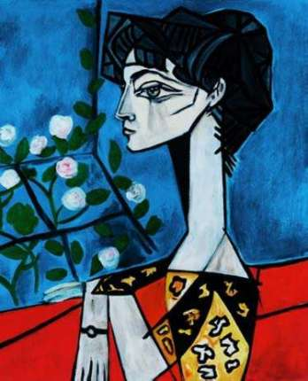 #09 PORTRAIT OF JACQUELINE ROQUE WITH FLOWERS Pablo Picasso Estate Signed Giclee
