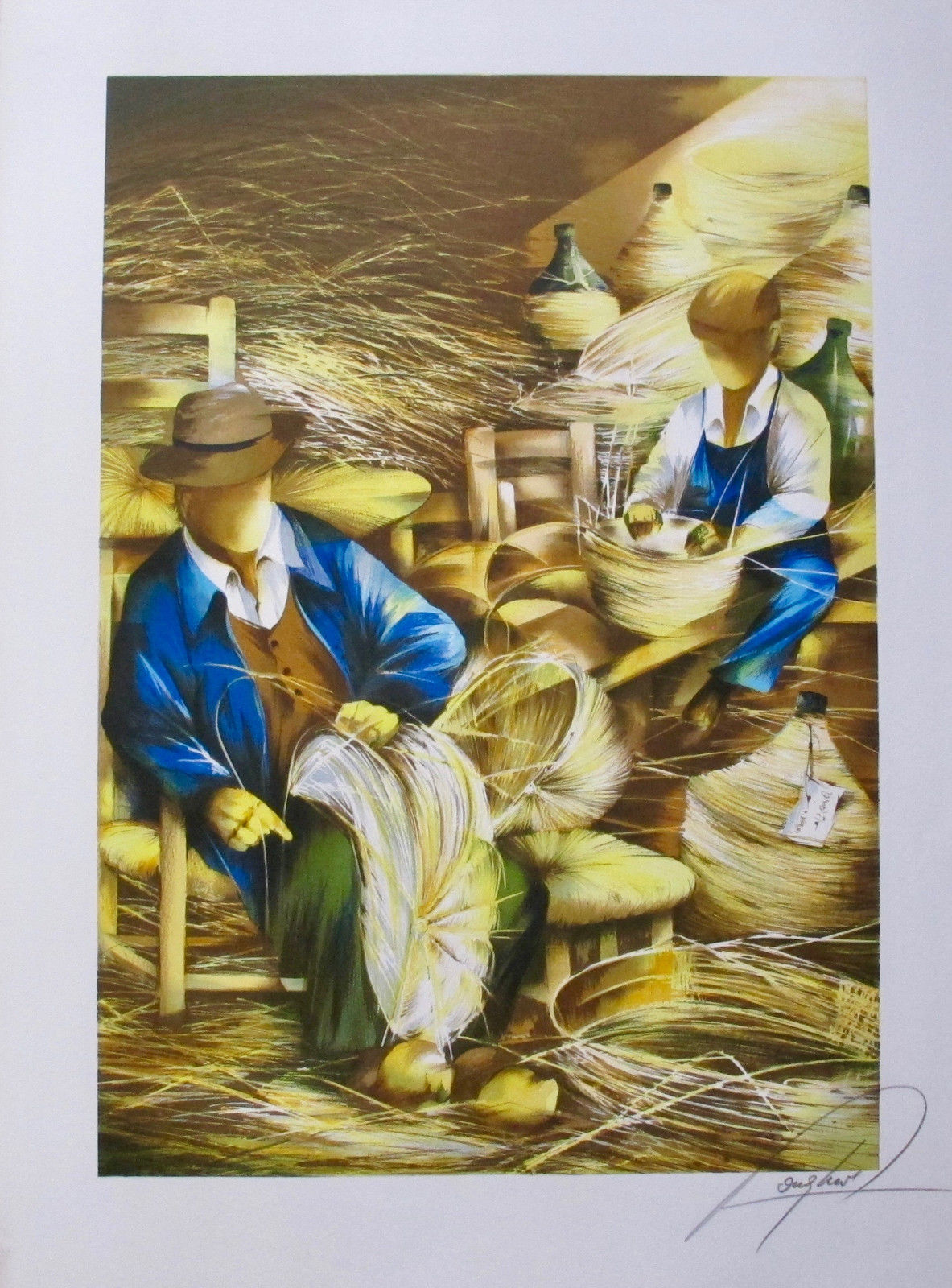 RAYMOND POULET BASKET WEAVING Hand Signed Limited Edition Lithograph