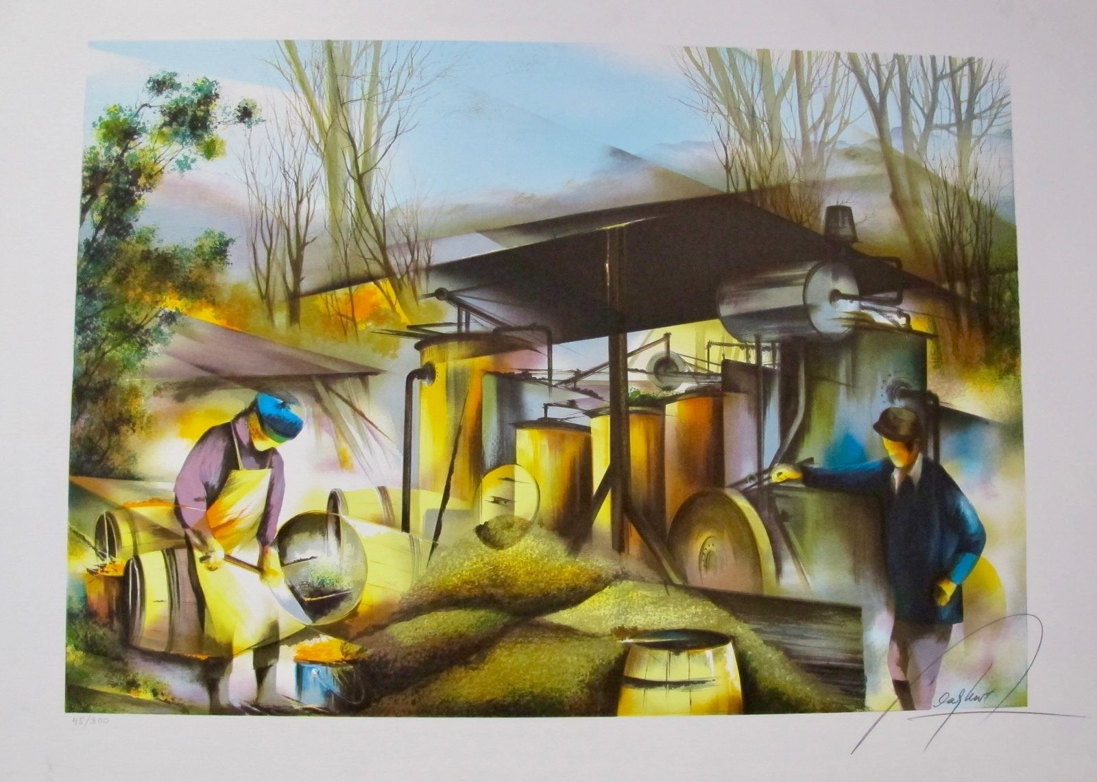 RAYMOND POULET GLASS BLOWER Hand Signed Limited Edition Lithograph
