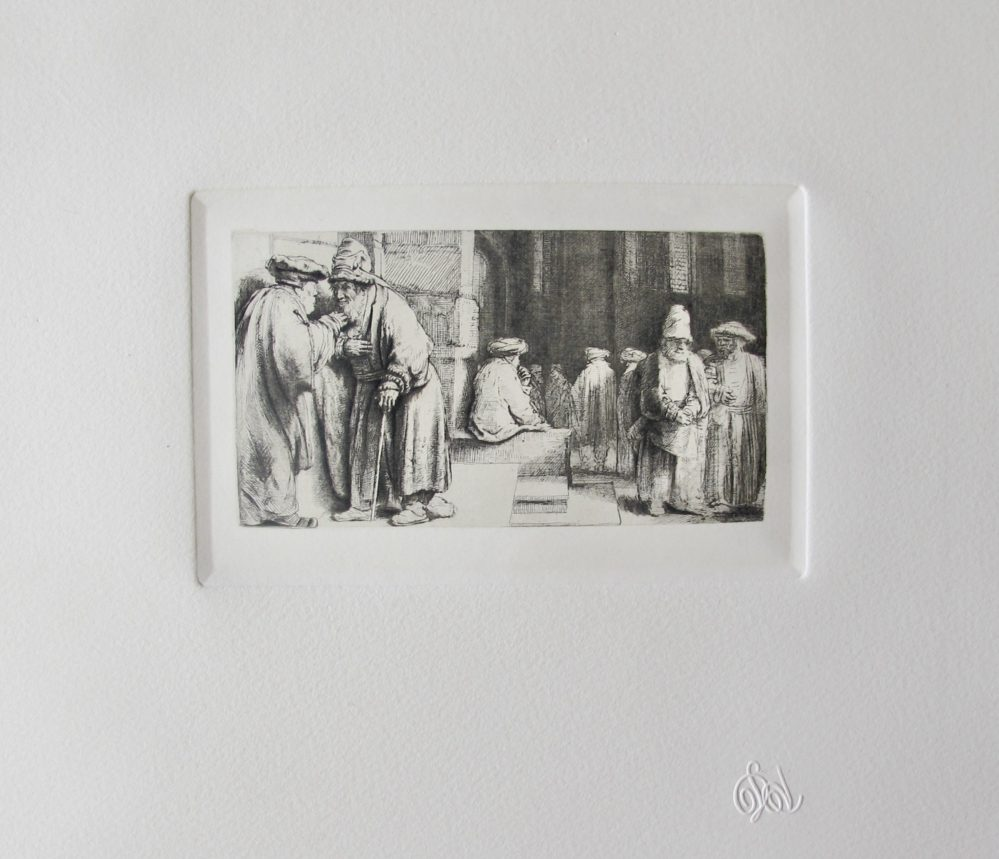 REMBRANDT Amand Durand Signed Etching JEWS IN THE SYNAGOGUE