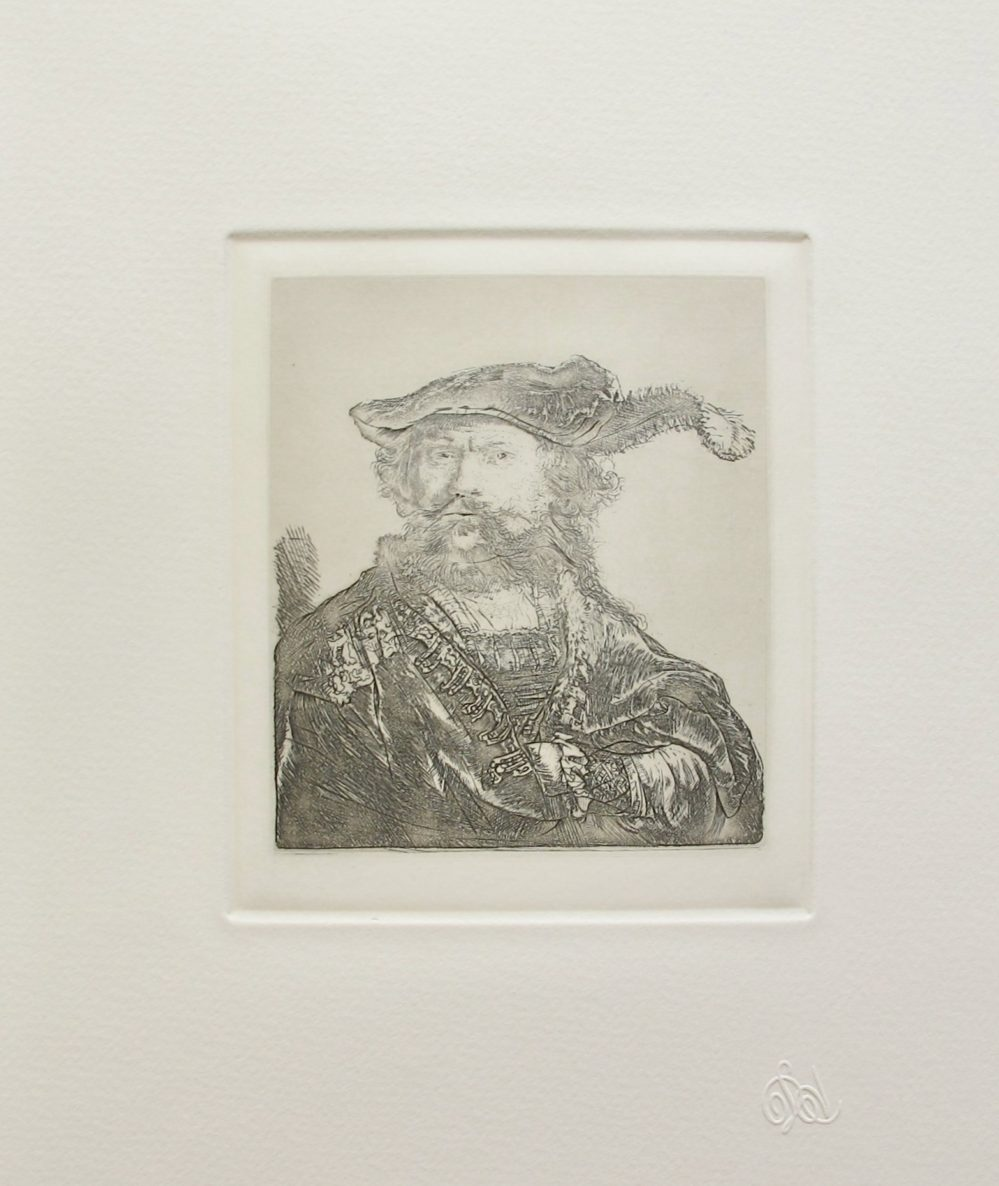 Rembrandt SELF PORTRAIT WITH VELVET CAP WITH PLUME Amand Durand Etching
