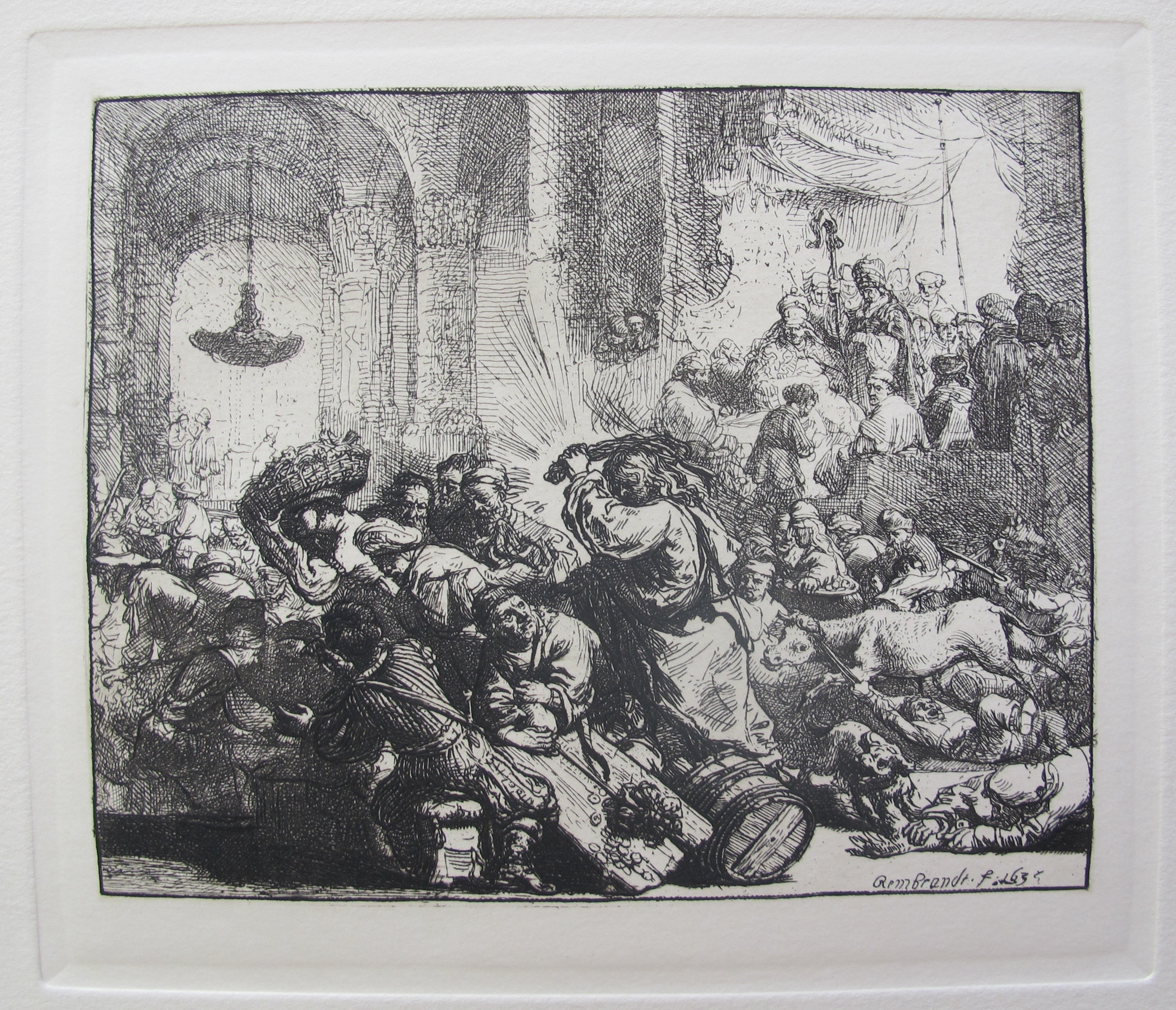 REMBRANDT CHRIST DRIVING THE MONEYCHANGERS Plate Signed Etching by Amand Durand