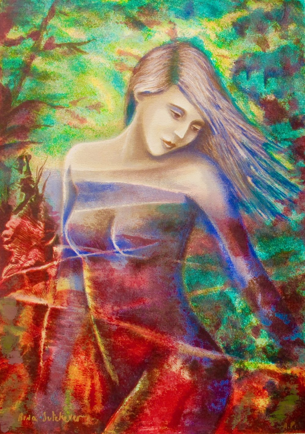 RINA SUTZKEVER CAPTIVATING BEAUTY Hand Signed Serigraph on Canvas