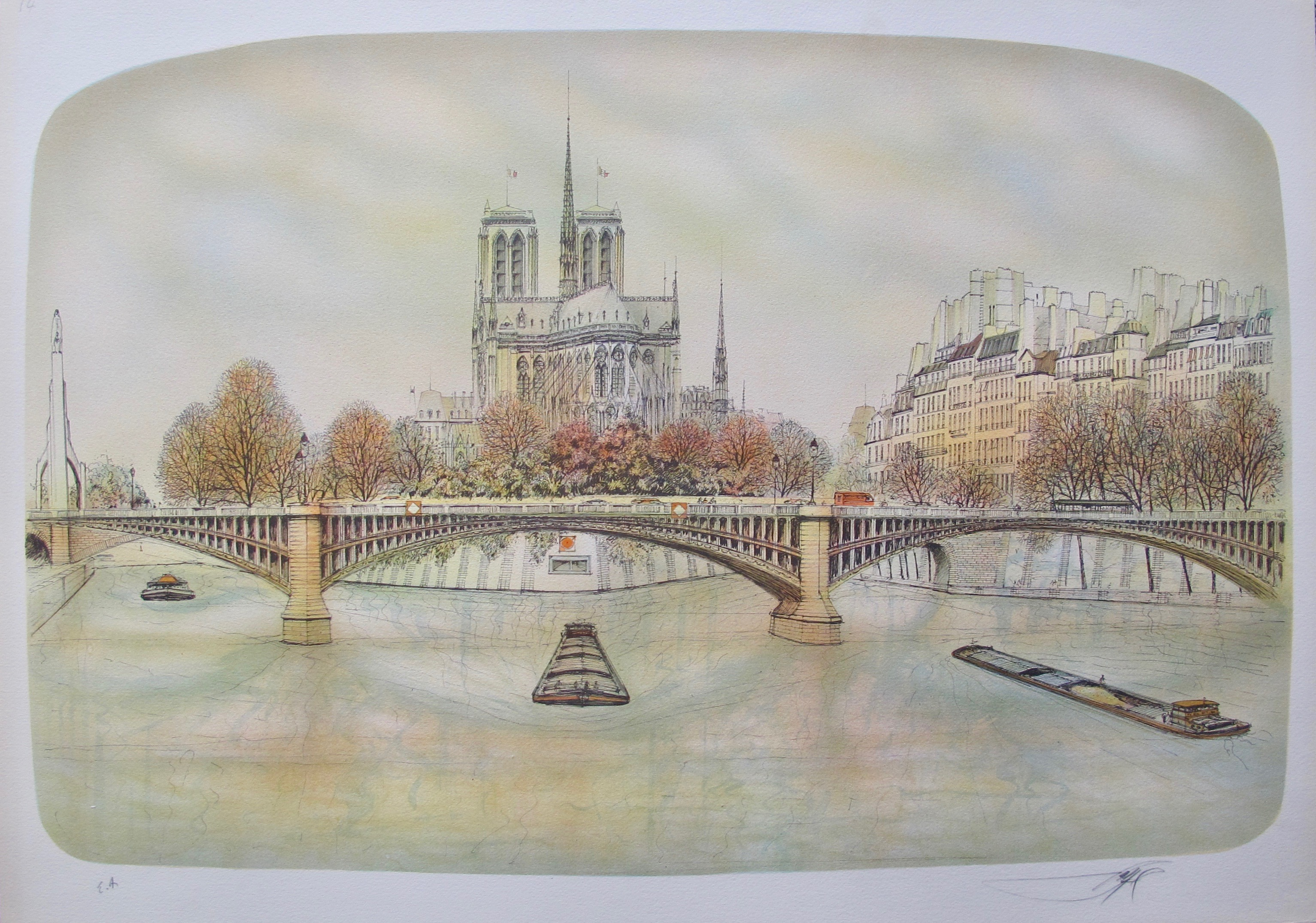 ROLF RAFFLEWSKI NOTRE DAME PARIS Hand Signed Limited Edition Lithograph