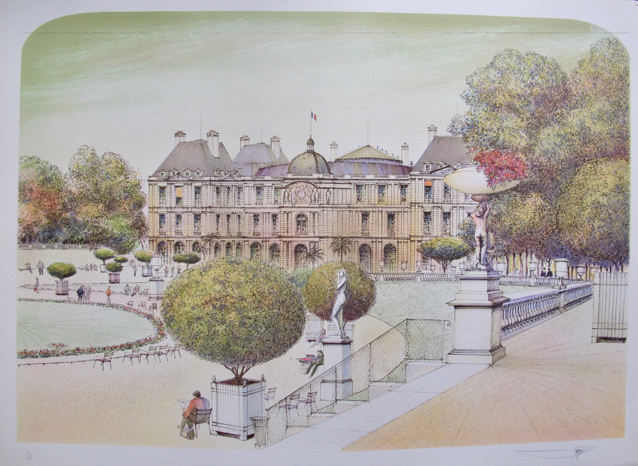 ROLF RAFFLEWSKI PARIS LE PONT ALEXANDRE Hand Signed Limited Edition Lithograph