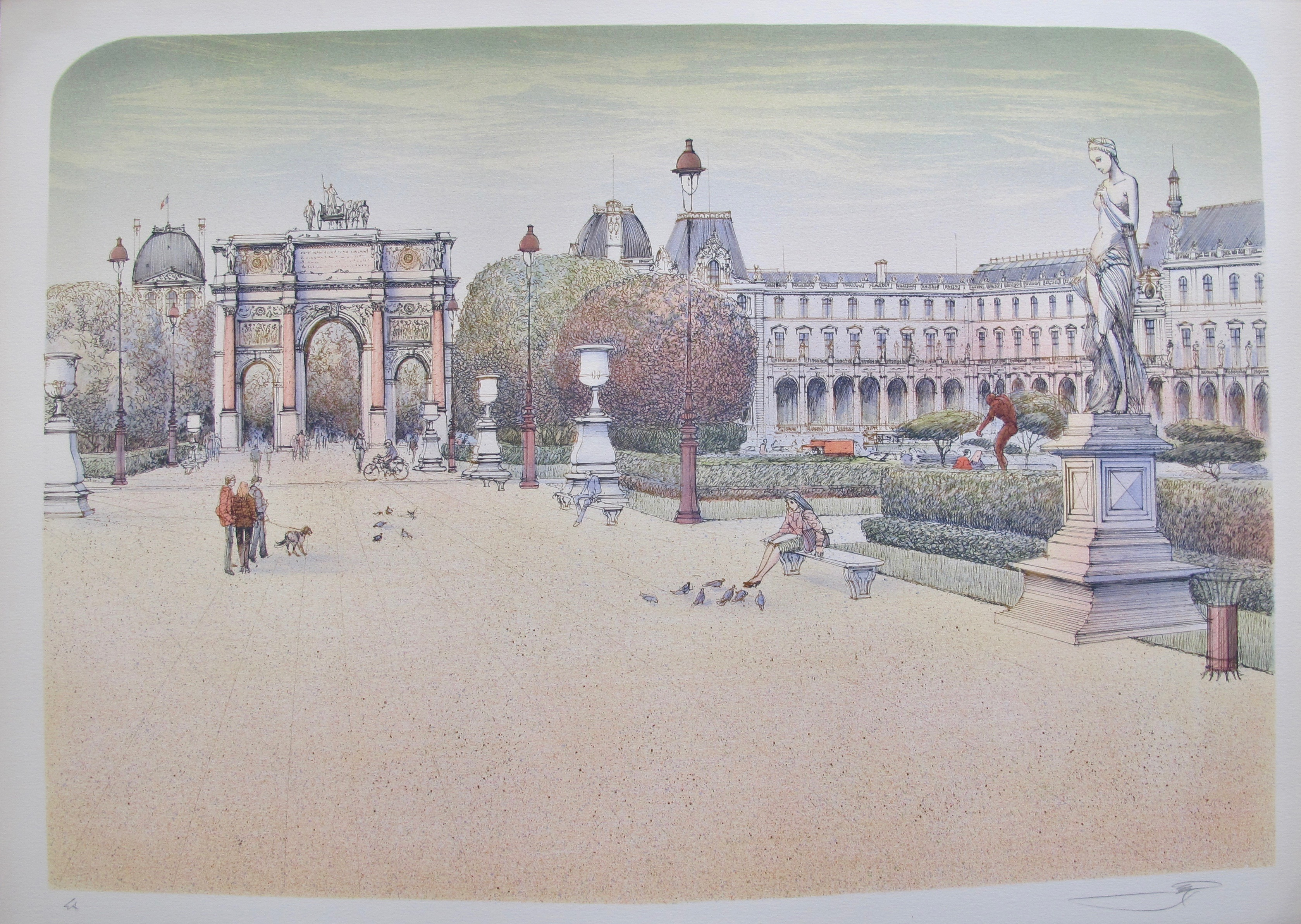 ROLF RAFFLEWSKI PARIS PLACE DU CARROUSEL Hand Signed Limited Edition Lithograph