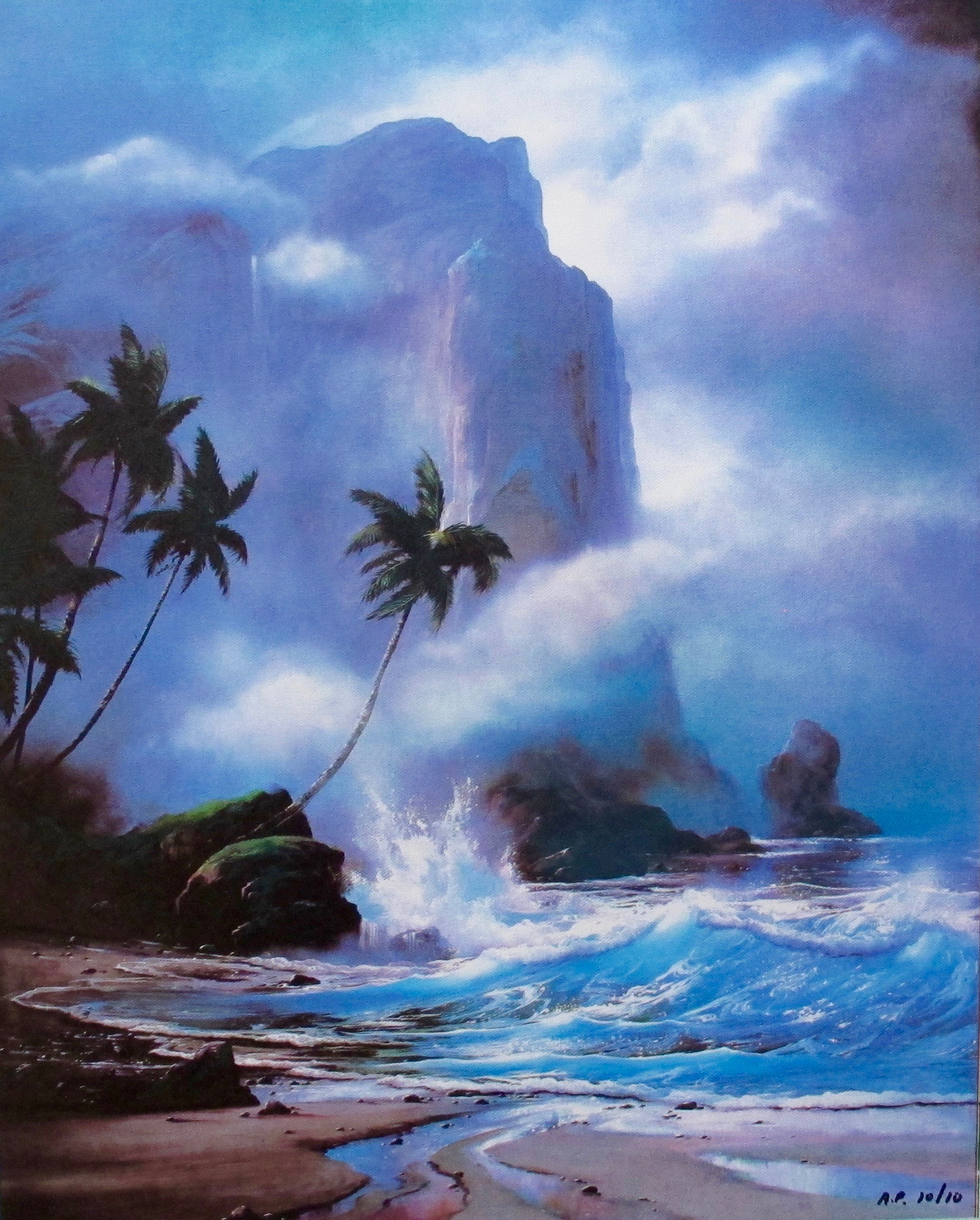 ROY TABORA HAWAII OCEAN TIDE WINDS Limited Edition Art Giclee on Canvas