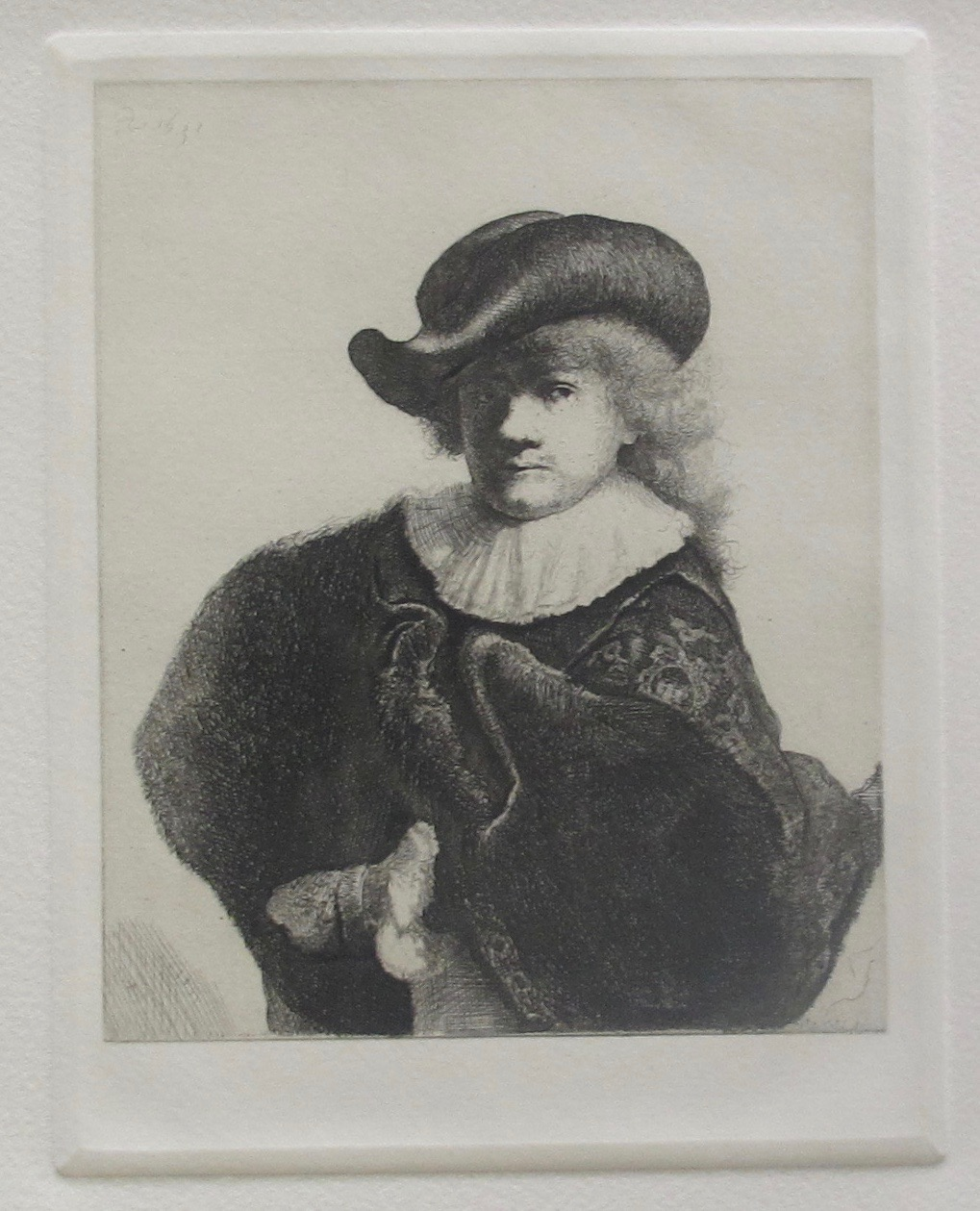 REMBRANDT SELF PORTRAIT IN SOFT HAT EMBROIDERED CLOAK Etching by Amand Durand