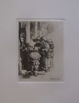 "REMBRANDT ""BEGGARS RECEIVING ALMS"" Amand Durand Plate Signed Etching"