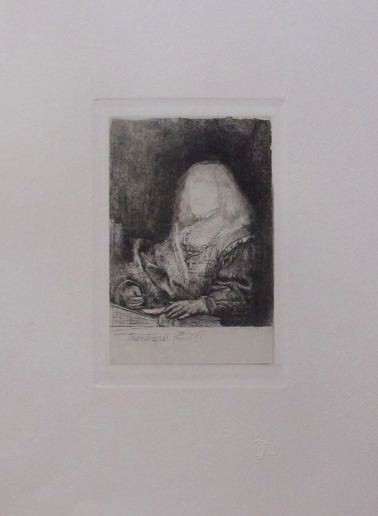 "REMBRANDT ""MAN AT A DESK WEARING A CROSS"" Amand Durand Plate Signed Etching"
