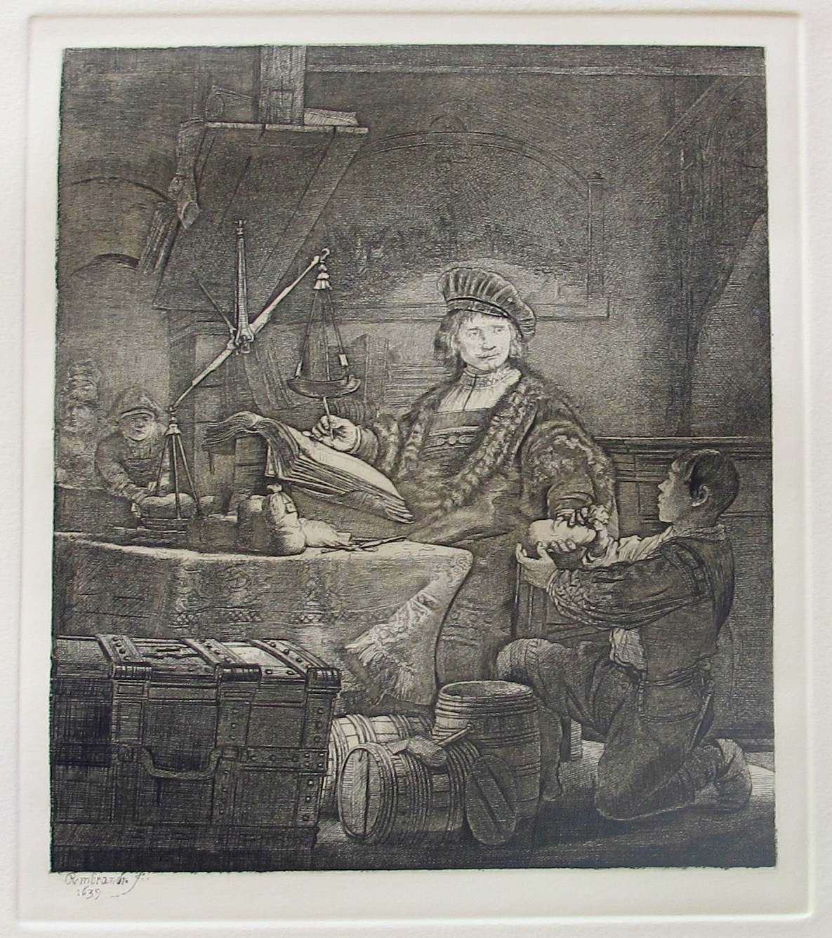 REMBRANDT THE GOLDWEIGHER Etching by Amand Durand Signed in the Plate