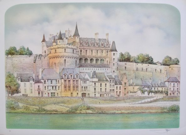 ROLF RAFFLEWSKI FRENCH CHATEAU Hand Signed Limited Edition Lithograph