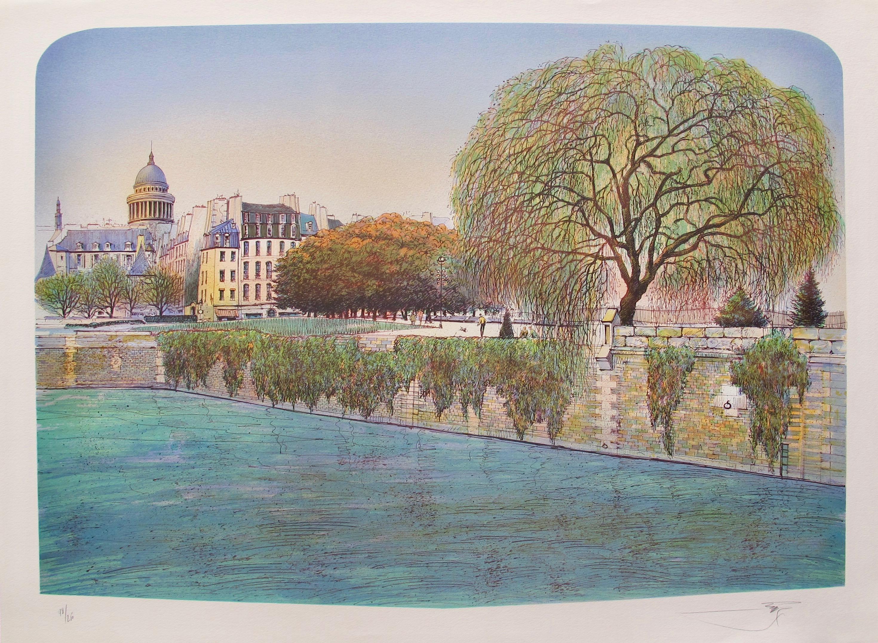 ROLF RAFFLEWSKI Paris LA SEINE SPRING Hand Signed Limited Edition Lithograph