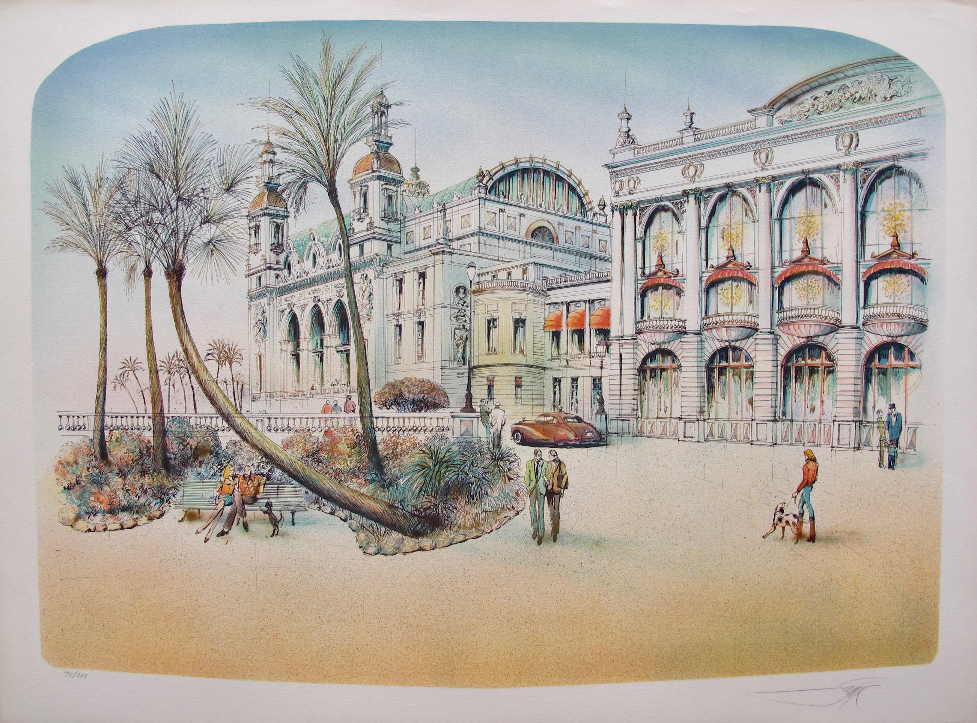 ROLF RAFFLEWSKI MONTE CARLO FRANCE Hand Signed Limited Edition Lithograph
