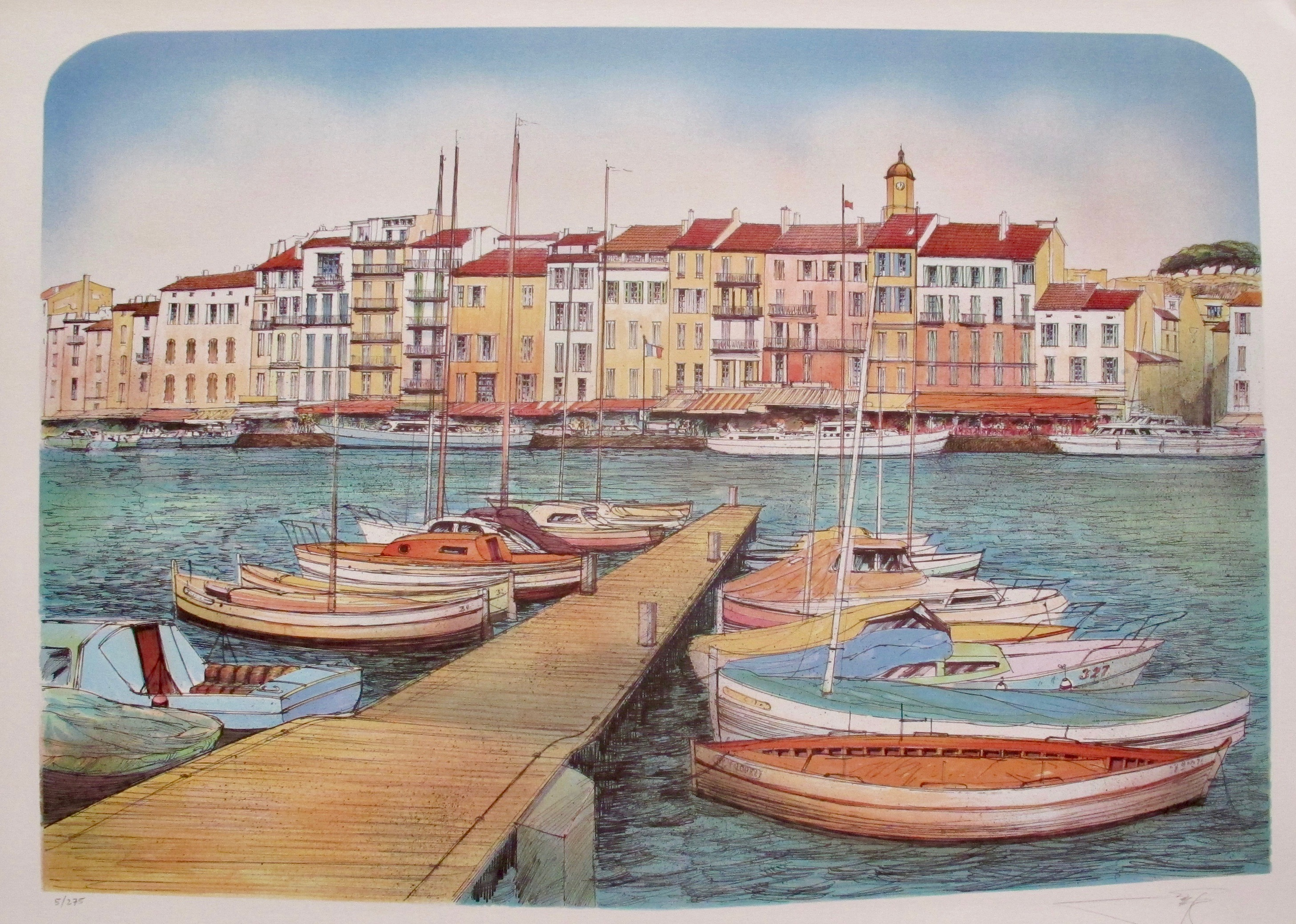 ROLF RAFFLEWSKI Paris Harbor Hand Signed Limited Edition Lithograph Art
