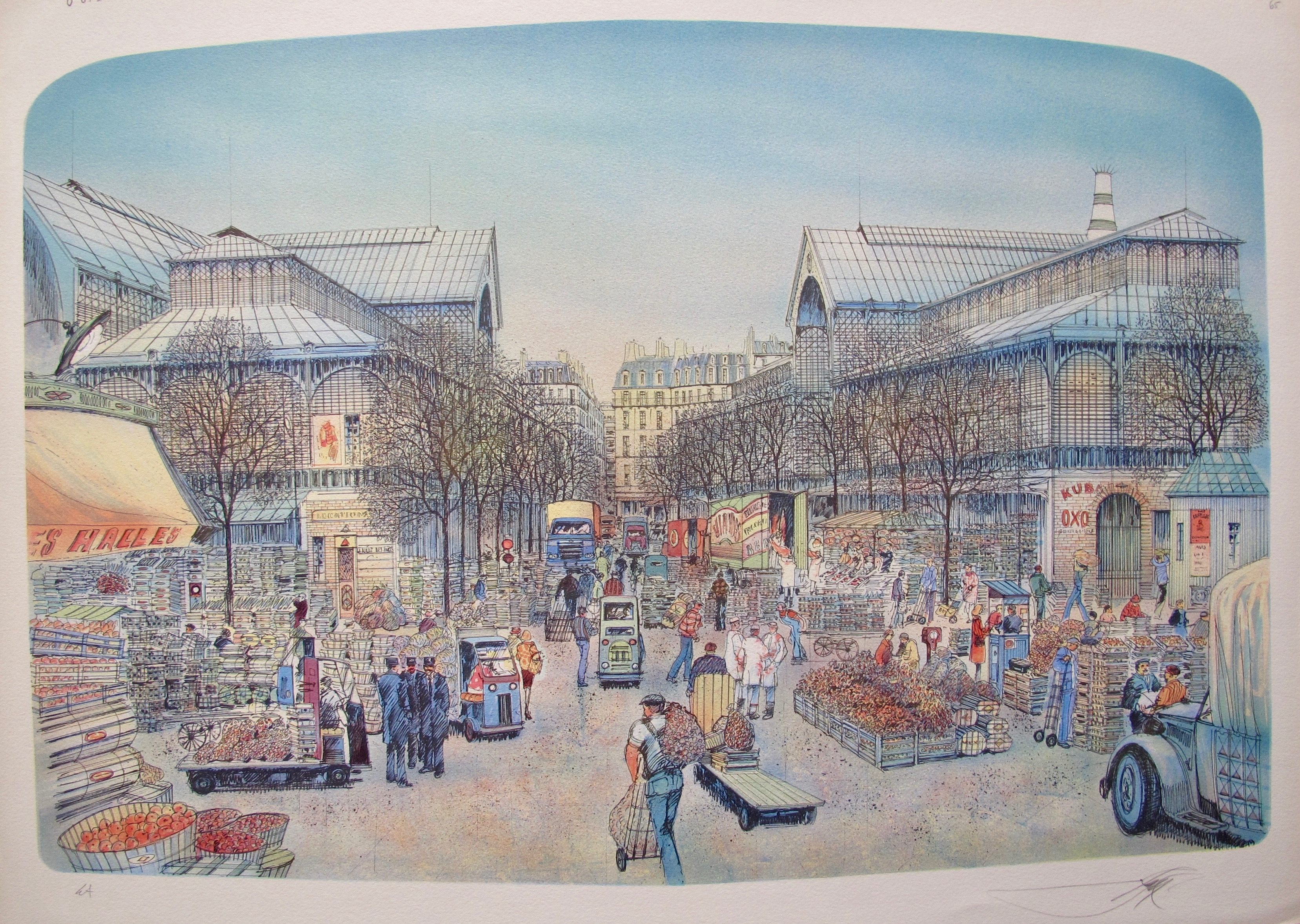 ROLF RAFFLEWSKI PARIS MARKET Hand Signed Limited Edition Lithograph Art