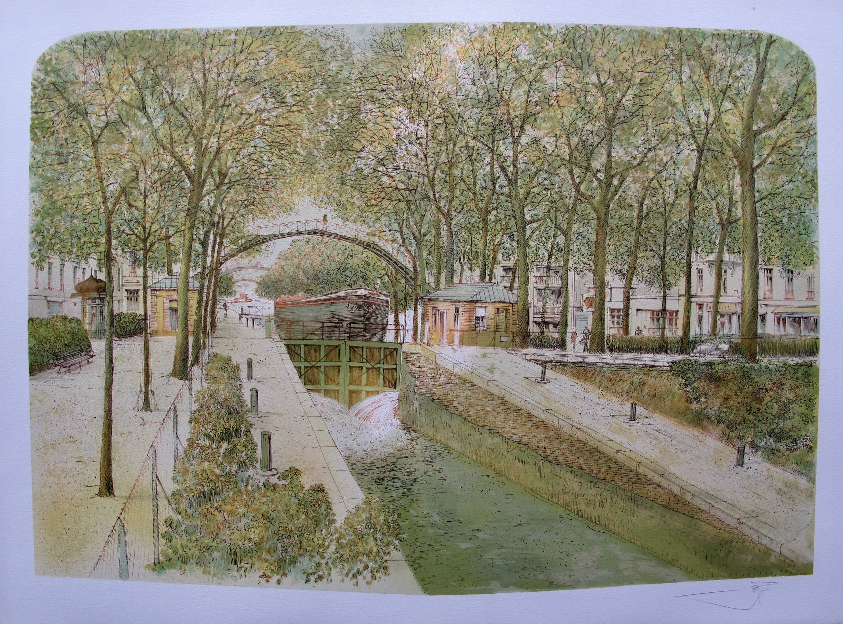 ROLF RAFFLEWSKI Paris LA SEINE Hand Signed Limited Edition Lithograph