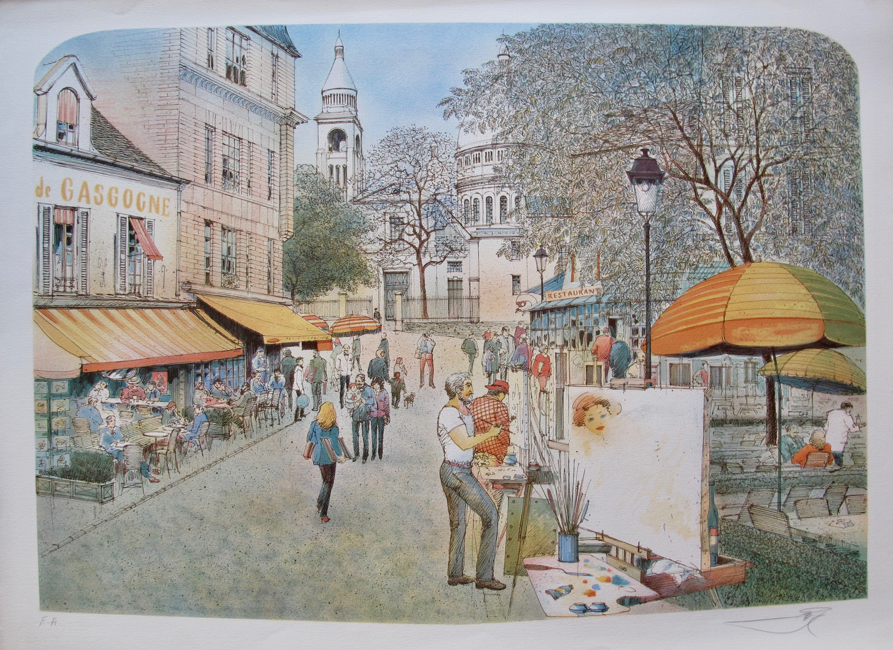ROLF RAFFLEWSKI MONTMARTRE ARTIST PARIS Hand Signed Limited Edition Lithograph