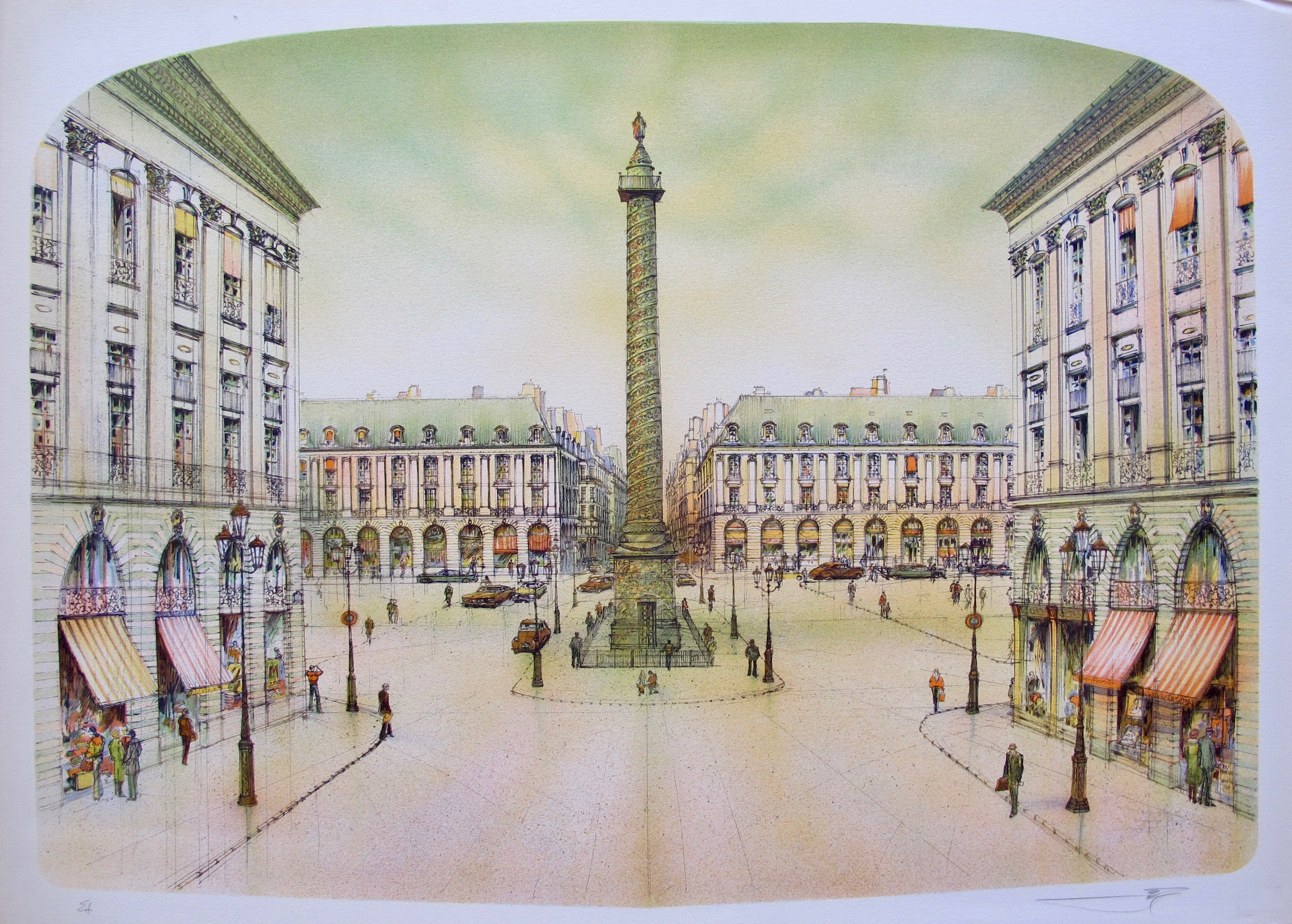 ROLF RAFFLEWSKI PARIS PLACE VENDOME Hand Signed Limited Edition Lithograph