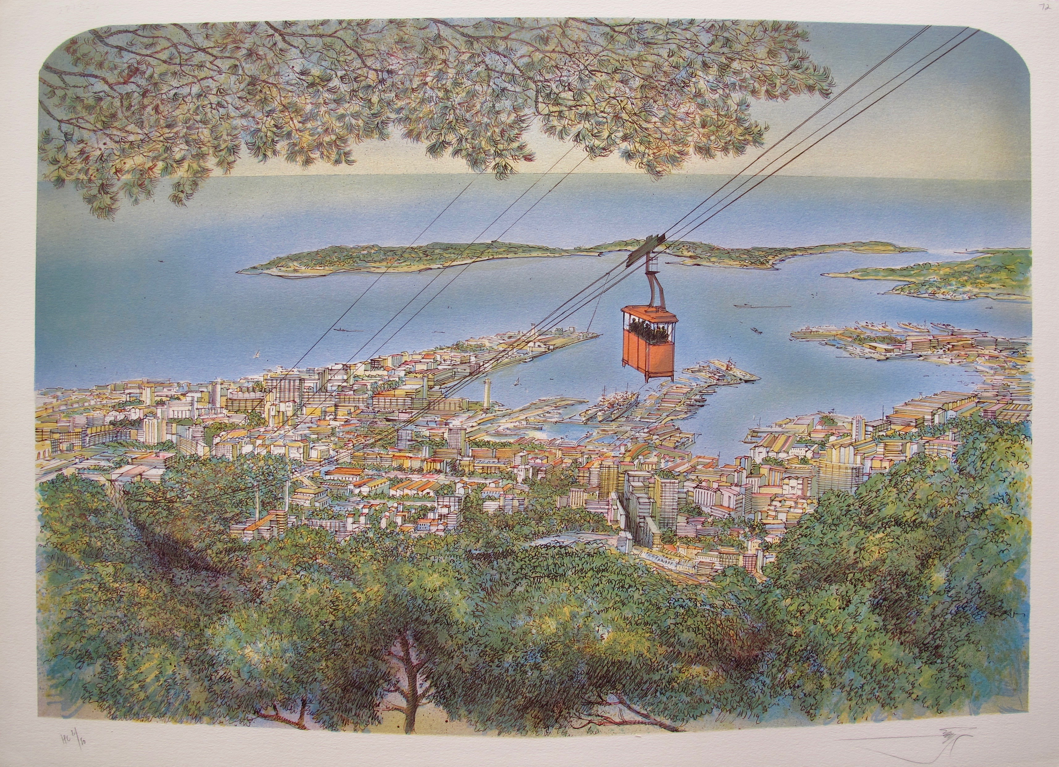 ROLF RAFFLEWSKI TOULON Hand Signed Limited Edition Lithograph Art Skytram