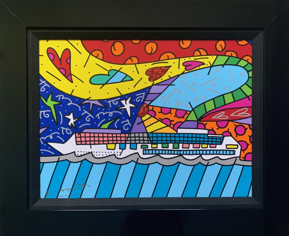 """ROMERO BRITTO """"CRUISE AT SEA"""" Hand Signed Giclee on Canvas Framed Art"""