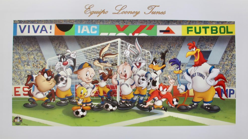 SOCCER TEAM LOONEY TUNES Limited Edition Art Lithograph VIVA FUTBOL Football