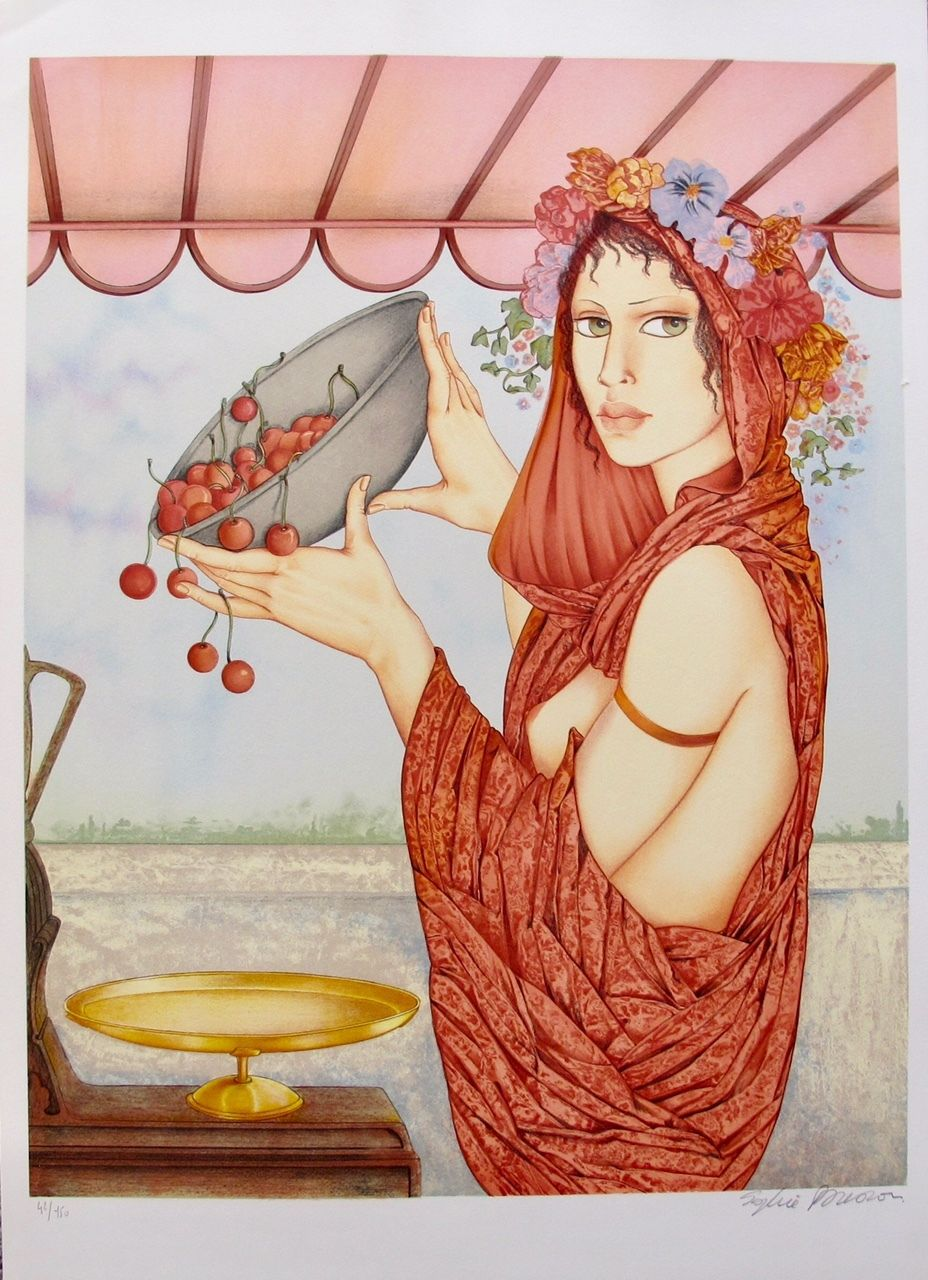"SOPHIE BUSSON ""CHERRIES"" Hand Signed Limited Edition Lithograph French Art Mucha"