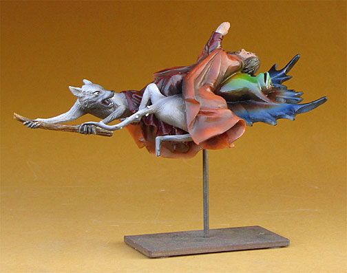 Jheronymus Bosch FLYING FROG WITH RATS Sculpture