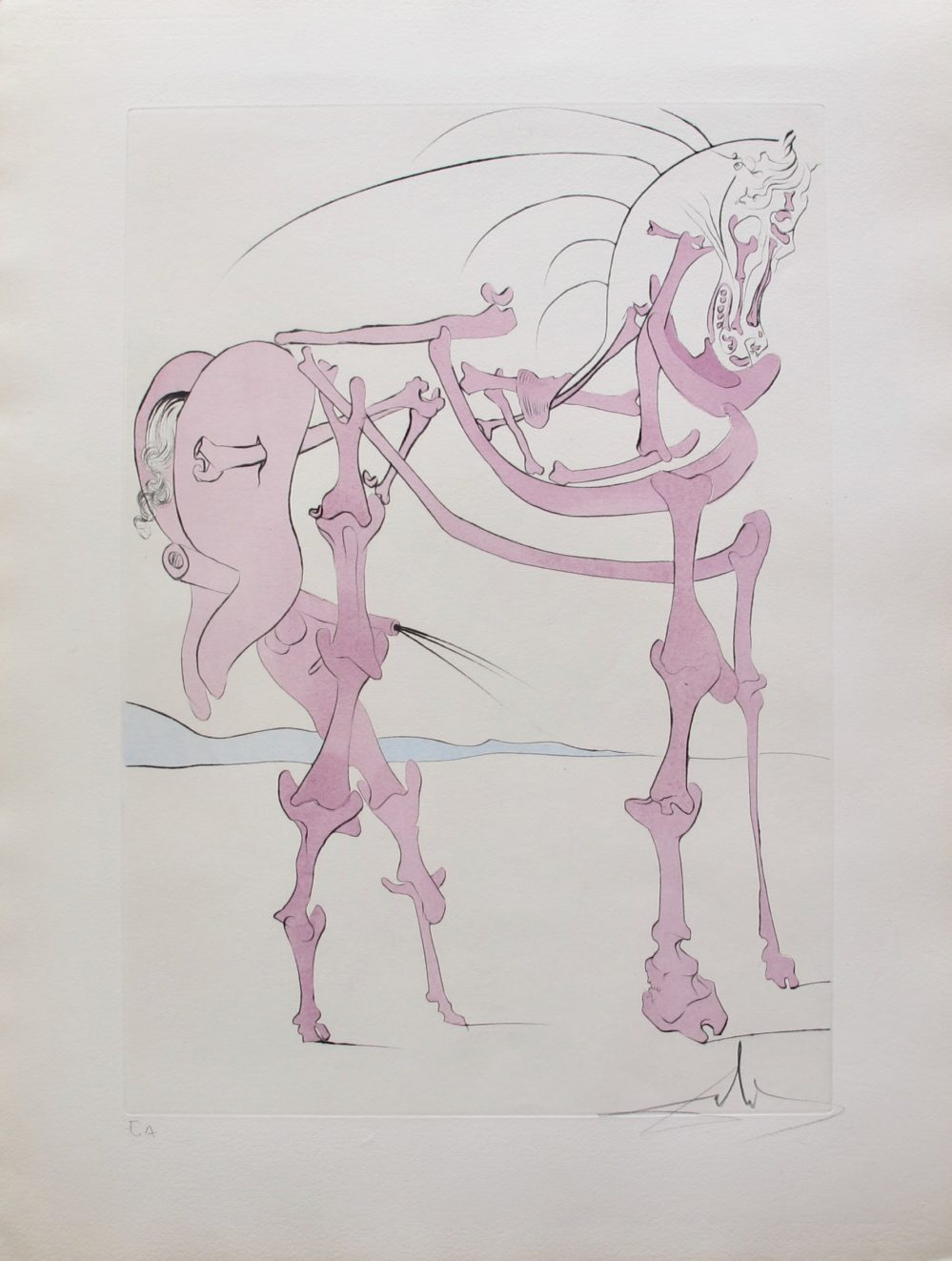 Salvador Dali 1975 Hand Signed Etching CHEVAL EN ROSE from VISIONS DE QUEVEDO Suite
