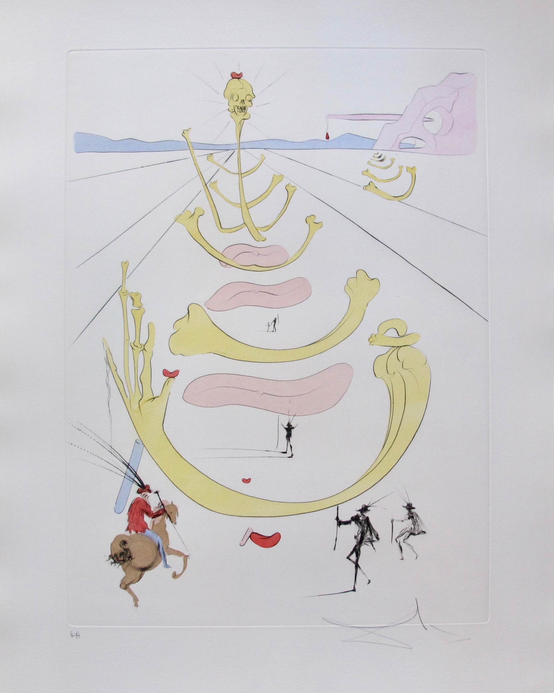 Salvador Dali 1975 MASQUE DE LA MORT Hand Signed Limited Edition Aquatint Etching
