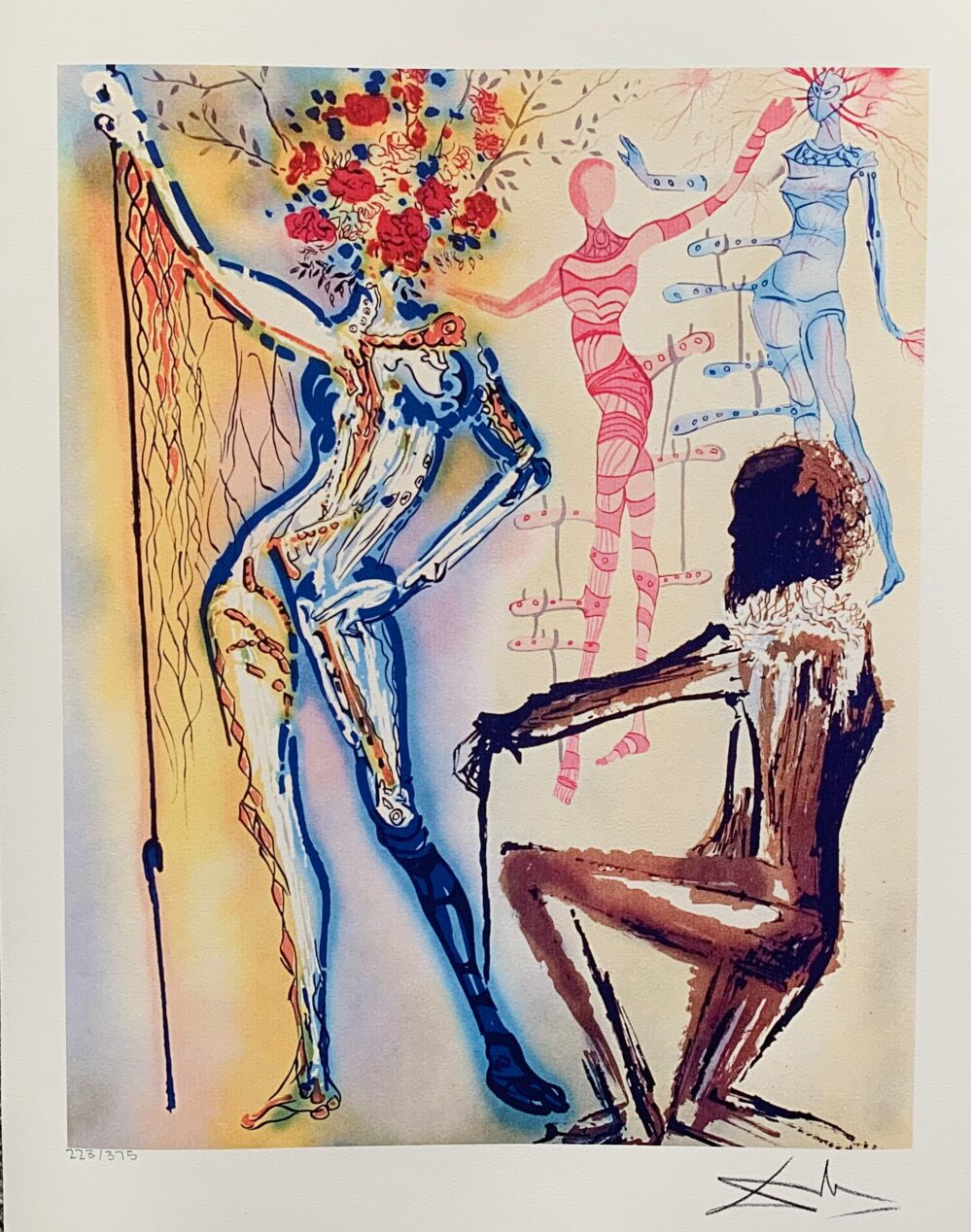 Salvador Dali BALLET OF FLOWERS Facsimile Signed Limited Edition Large Giclee
