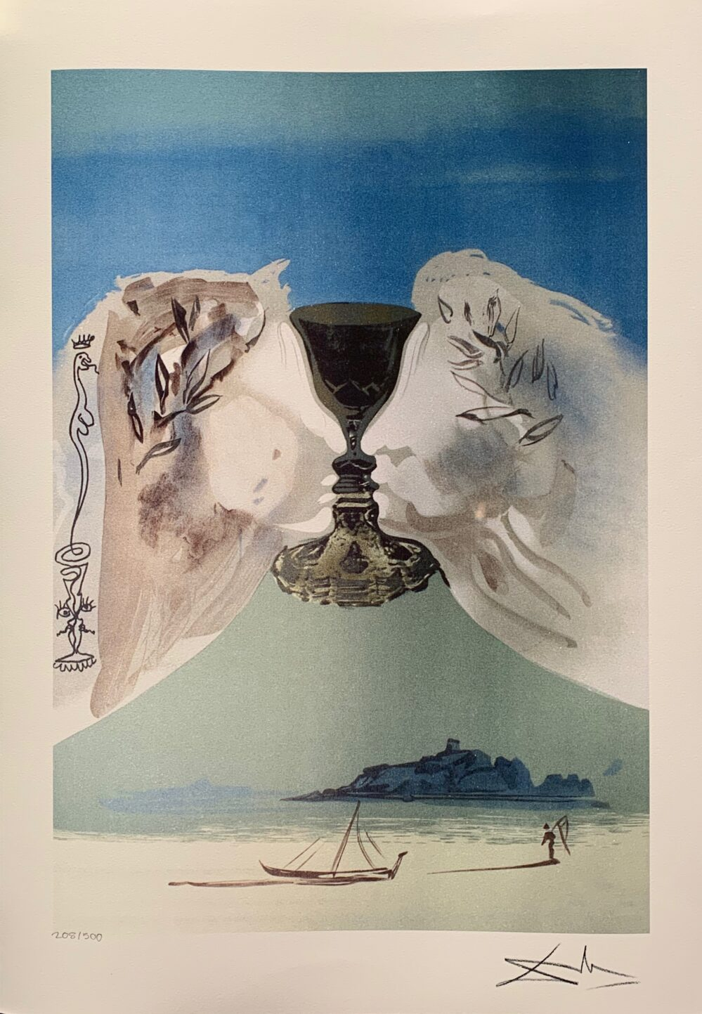 Salvador Dali CHALICE OF LOVE Facsimile Signed Limited Edition Large Giclee