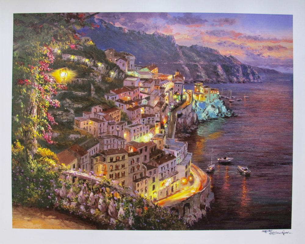 Sung Sam Park LIGHTS OF AMALFI Hand Signed Limited Edition Giclee