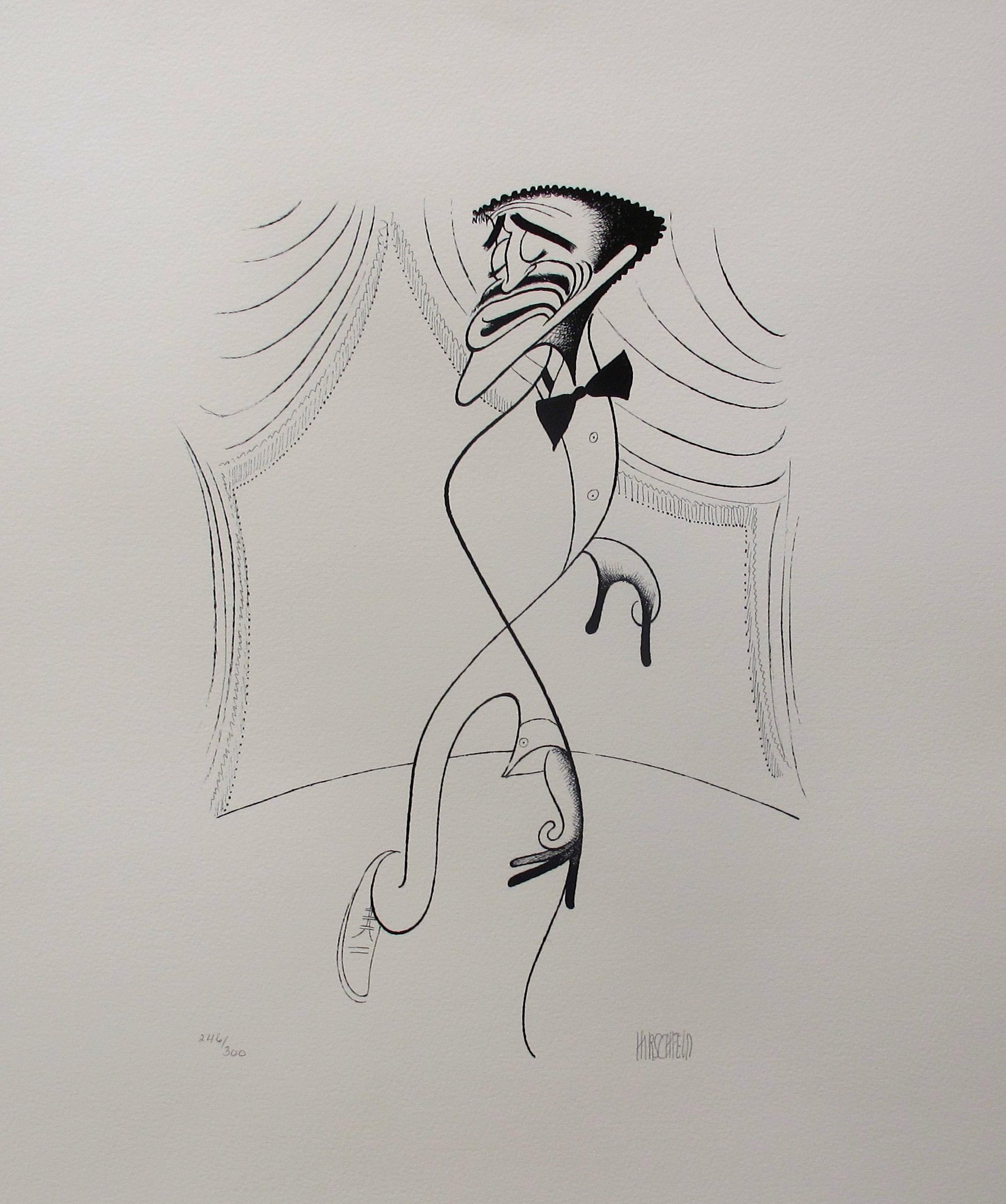 AL HIRSCHFELD SAMMY DAVIS JR. ON STAGE Hand Signed Limited Edition Lithograph