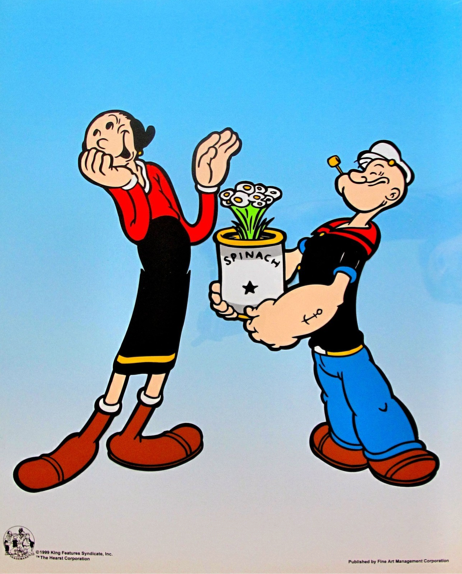 "POPEYE & OLIVE OIL ""SPINACH BOUQUET"" Animation Art Sericel"