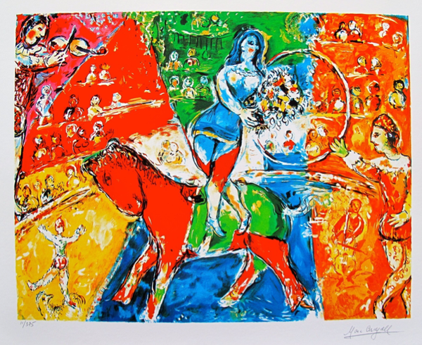 Marc Chagall CIRCUS HORSE & RIDER Limited Edition Facsimile Signed Small Giclee
