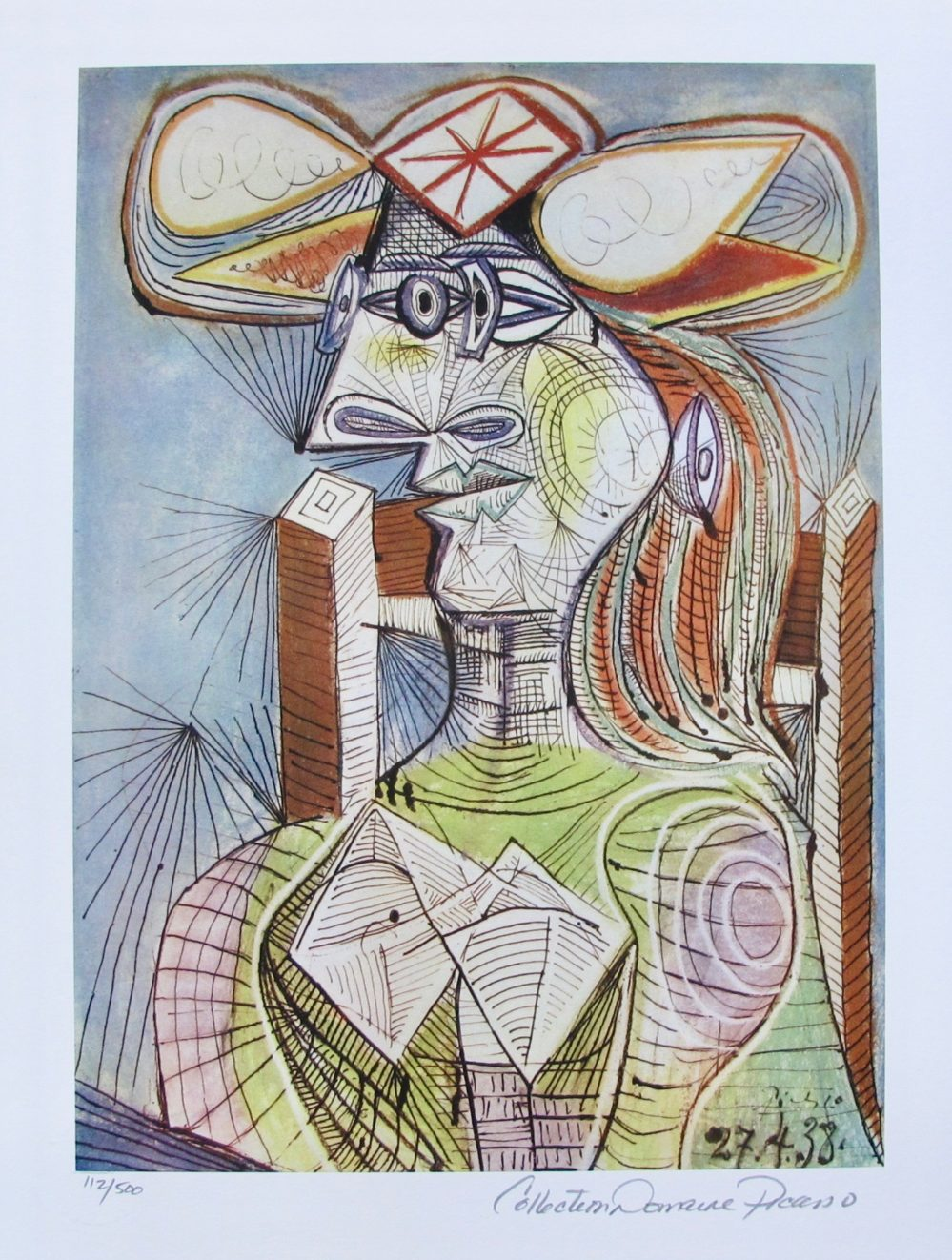 Pablo Picasso SEATED WOMAN ON WOOD CHAIR Estate Signed Limited Edition Small Giclee