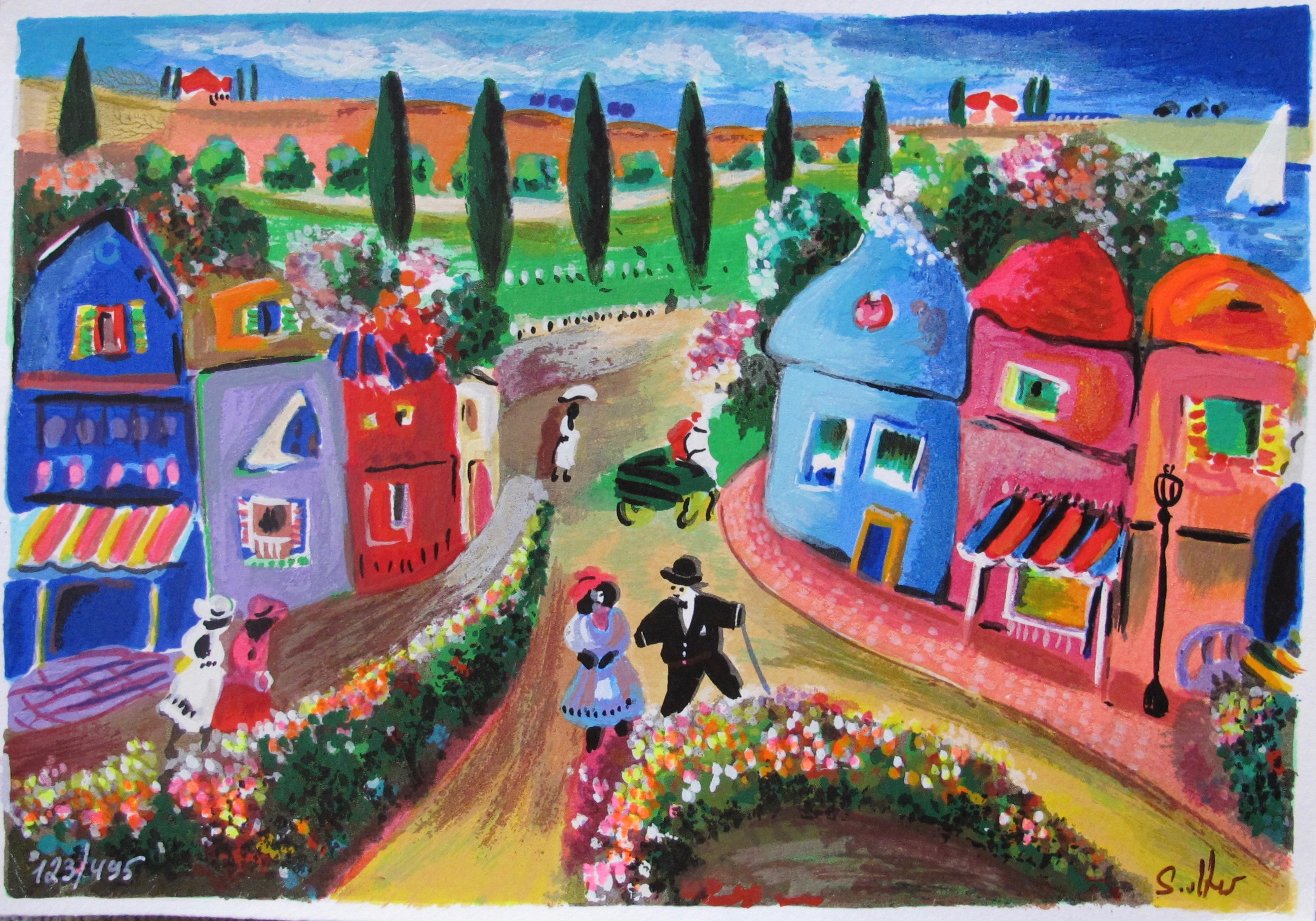 Shlomo Alter AFTERNOON STROLL Hand Signed Limited Edition Serigraph