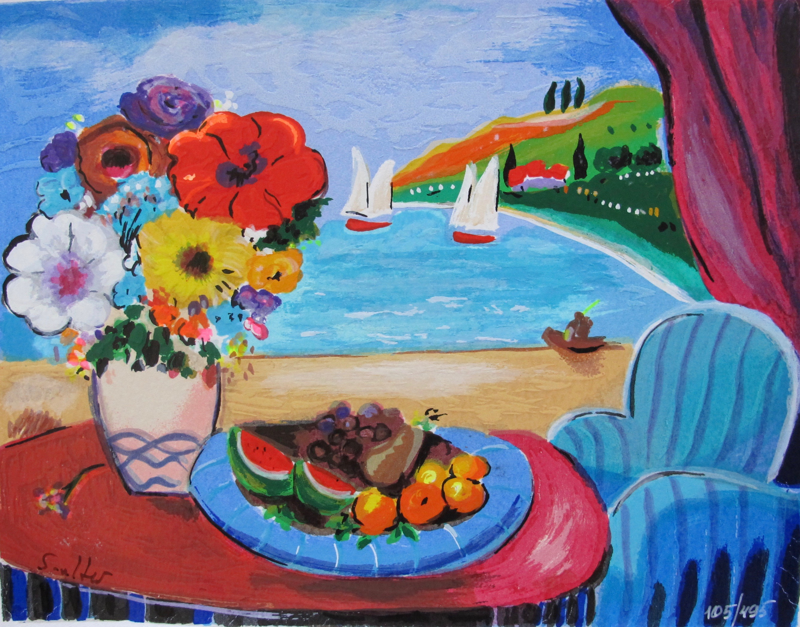 Shlomo Alter SEA VIEW 2 Hand Signed Limited Edition Serigraph
