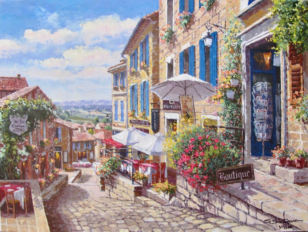 Sung Sam Park STREETS OF ST. EMILLION Hand Signed Limited Edition Giclee on Canvas