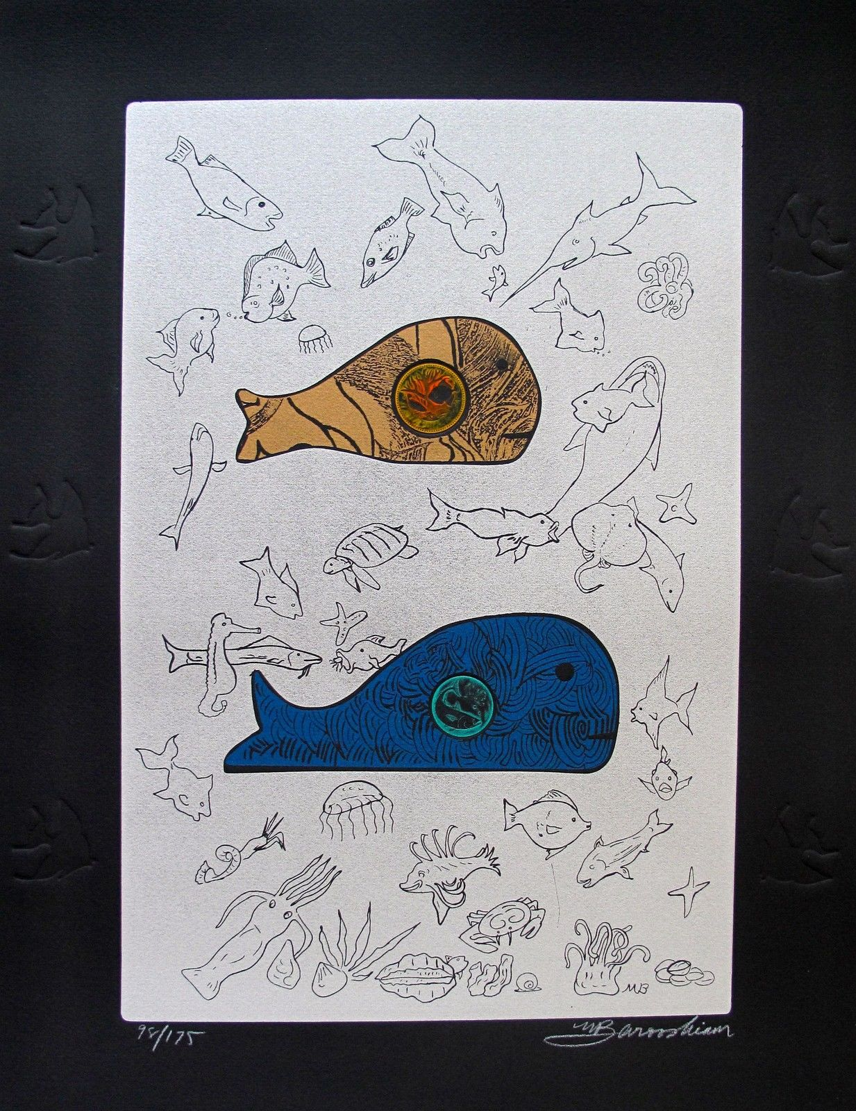 Martin Barooshian BIG FISH EAT LITTLE FISH Hand Signed Limited Edition Etching