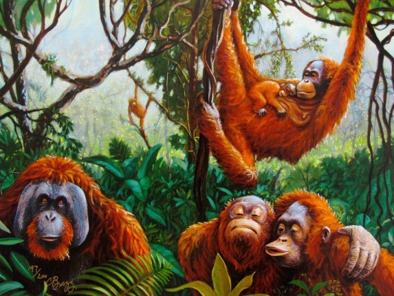 Charles Lynn Bragg ORANGUTANS Hand Signed Limited Edition Giclee