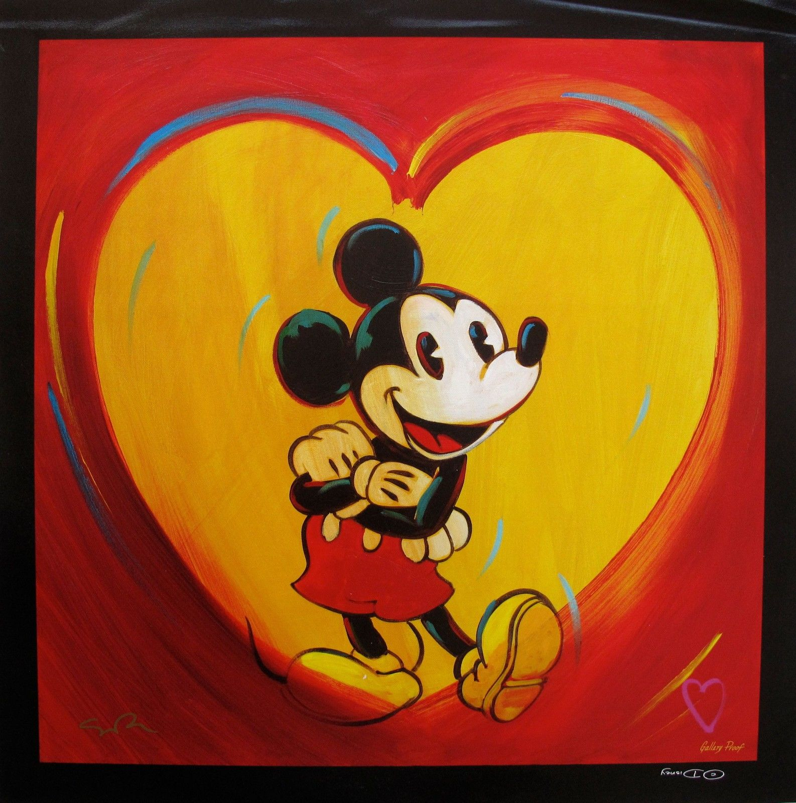 SIMON BULL I HEART MICKEY MOUSE Hand Signed Giclee on Canvas