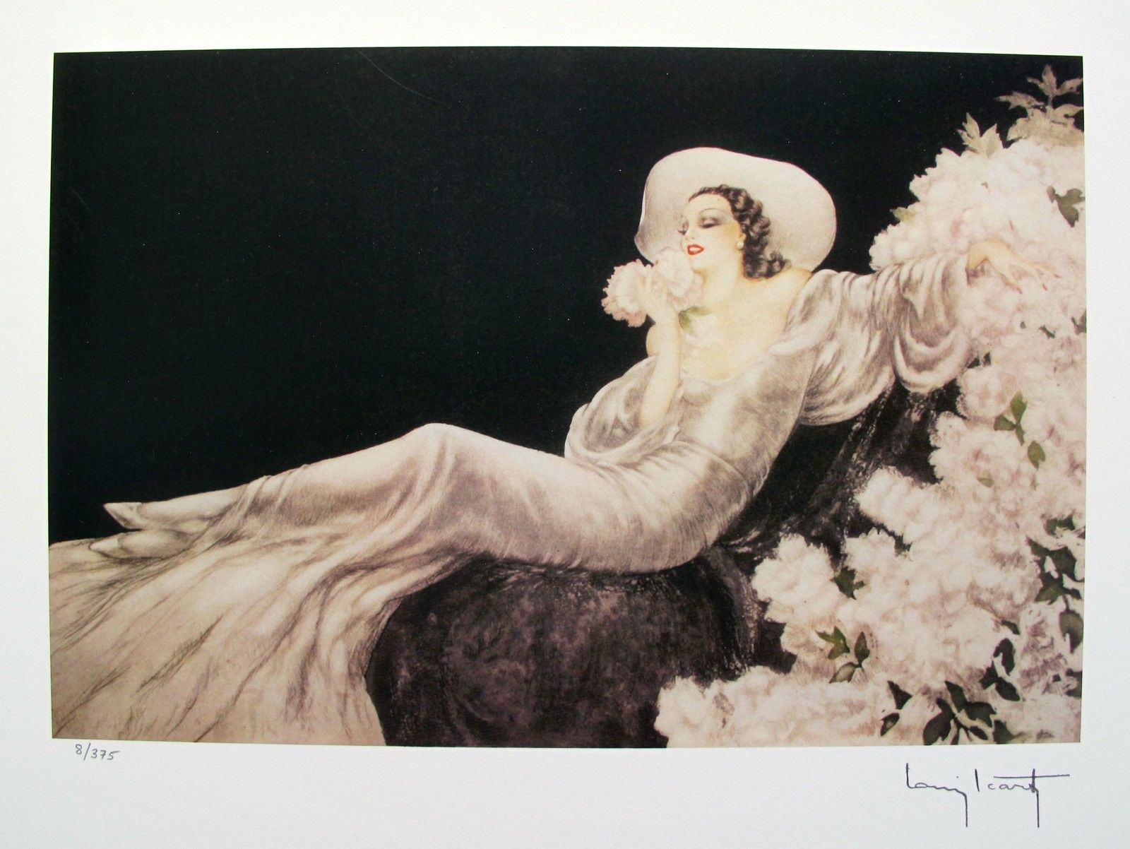 Louis Icart PARFUM DE FLEURS Facsimile Signed Limited Edition Small Giclee Art