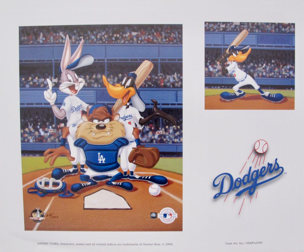 TAZ BUGS BUNNY BASEBALL L.A. DODGERS Looney Tunes Limited Edition Lithograph